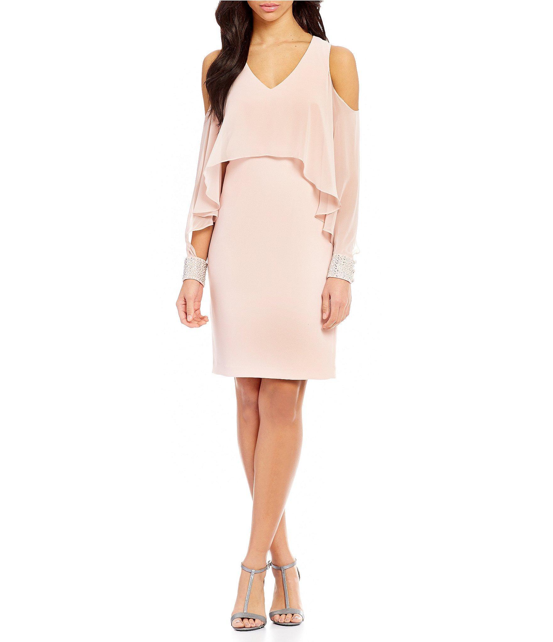 ... klein Long-sleeve Cold-shoulder Popover Sheath Dress in Pink   Lyst