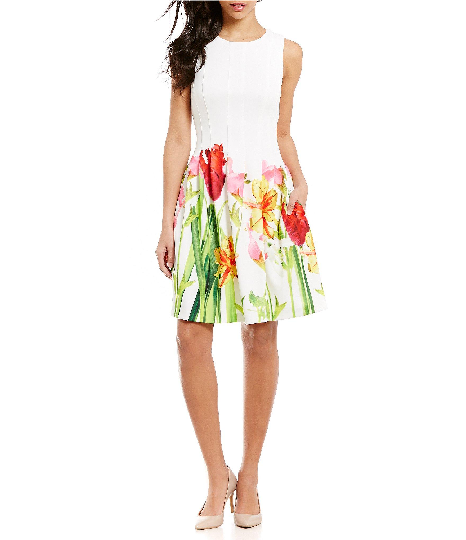 05a180e2fa Lyst - Calvin Klein Floral-hem Fit-and-flare Dress