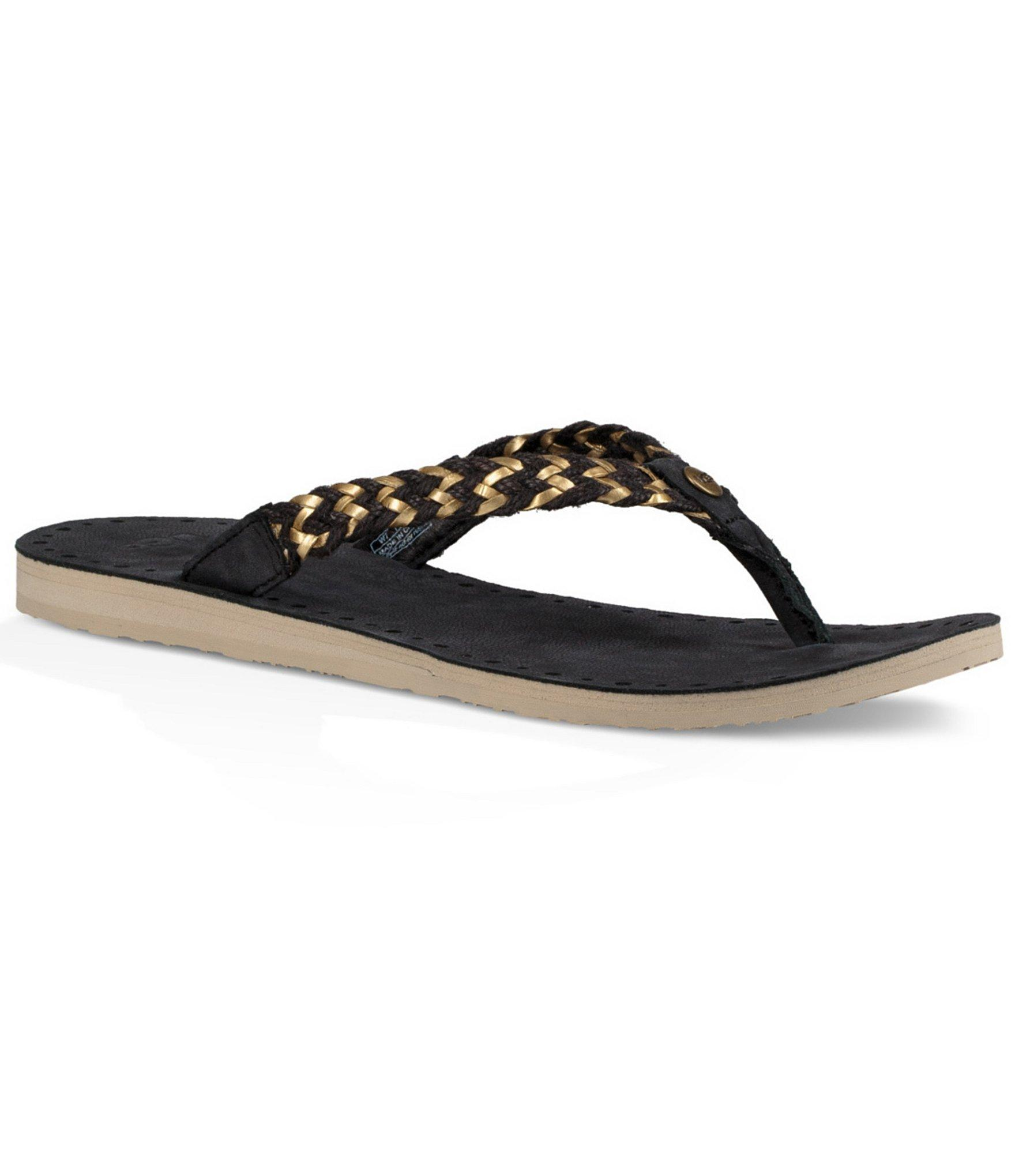 ugg navie ii flip flops in black lyst. Black Bedroom Furniture Sets. Home Design Ideas