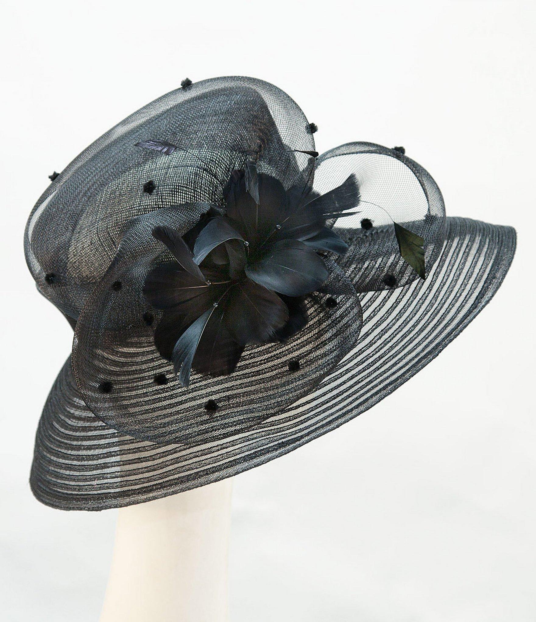 giovannio sinamay large brim dress hat in black lyst