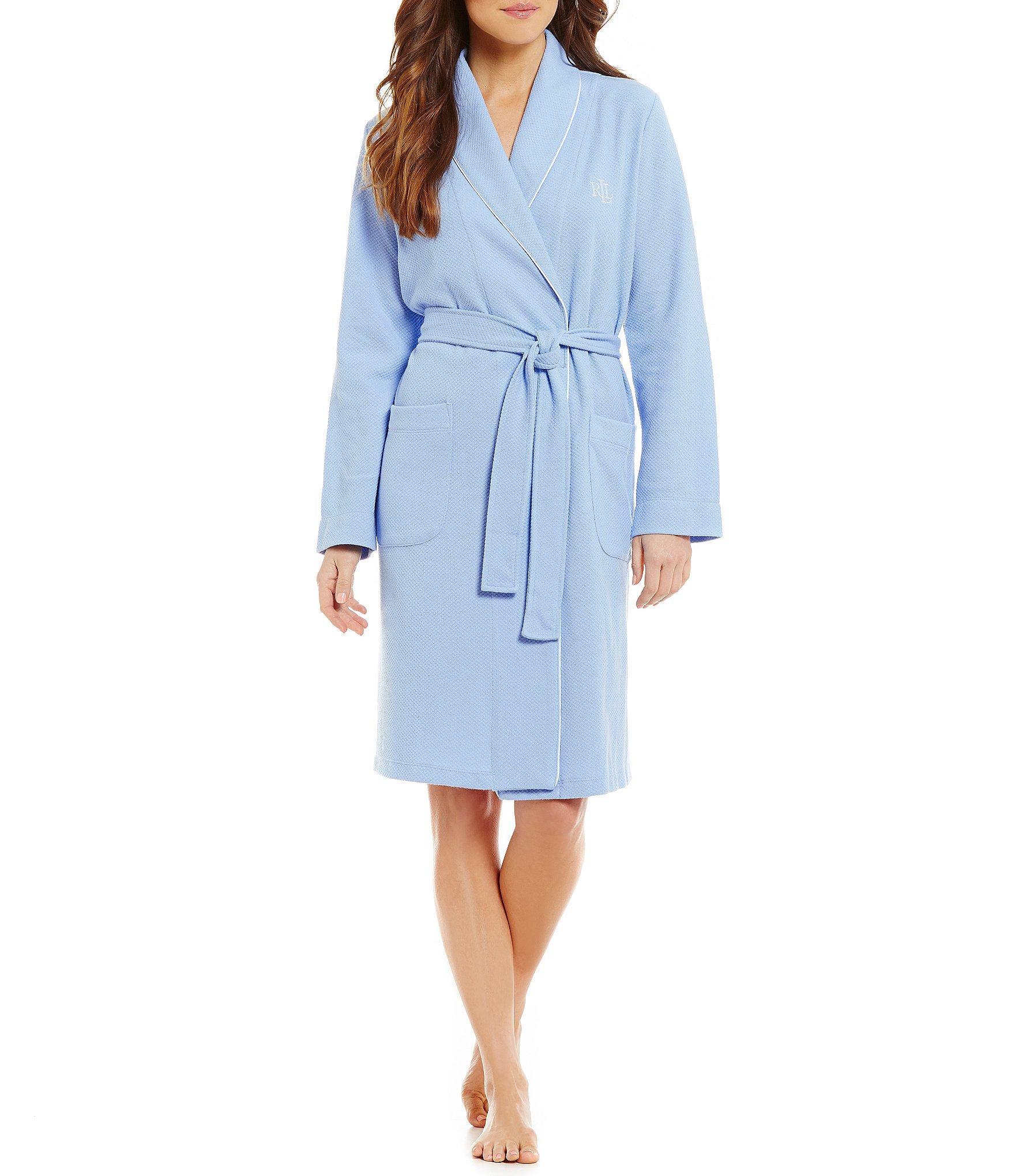 lauren by ralph lauren textured wrap robe in blue lyst. Black Bedroom Furniture Sets. Home Design Ideas