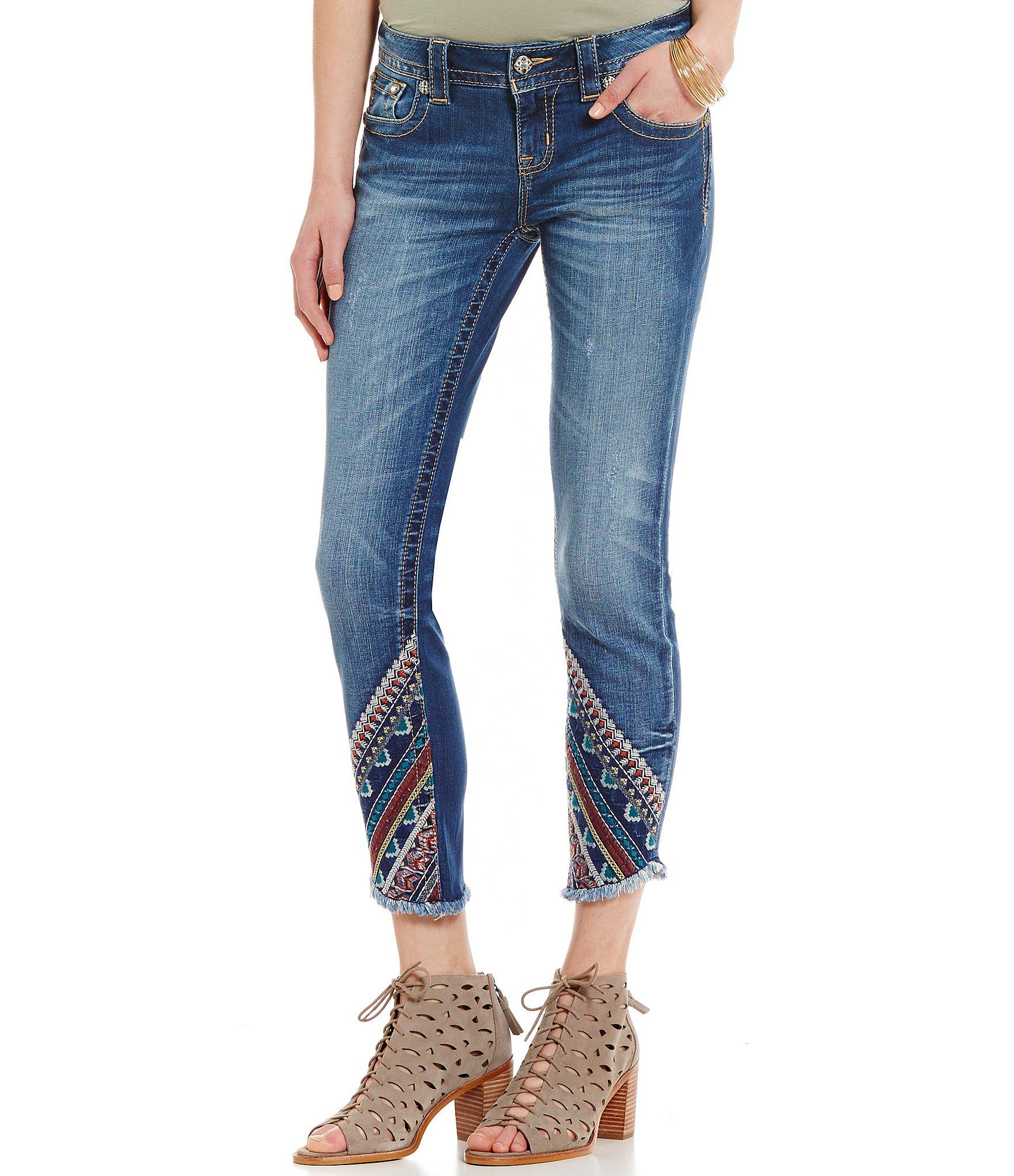 Miss Me Embroidered Frayed Hem Ankle Stretch Skinny Jeans
