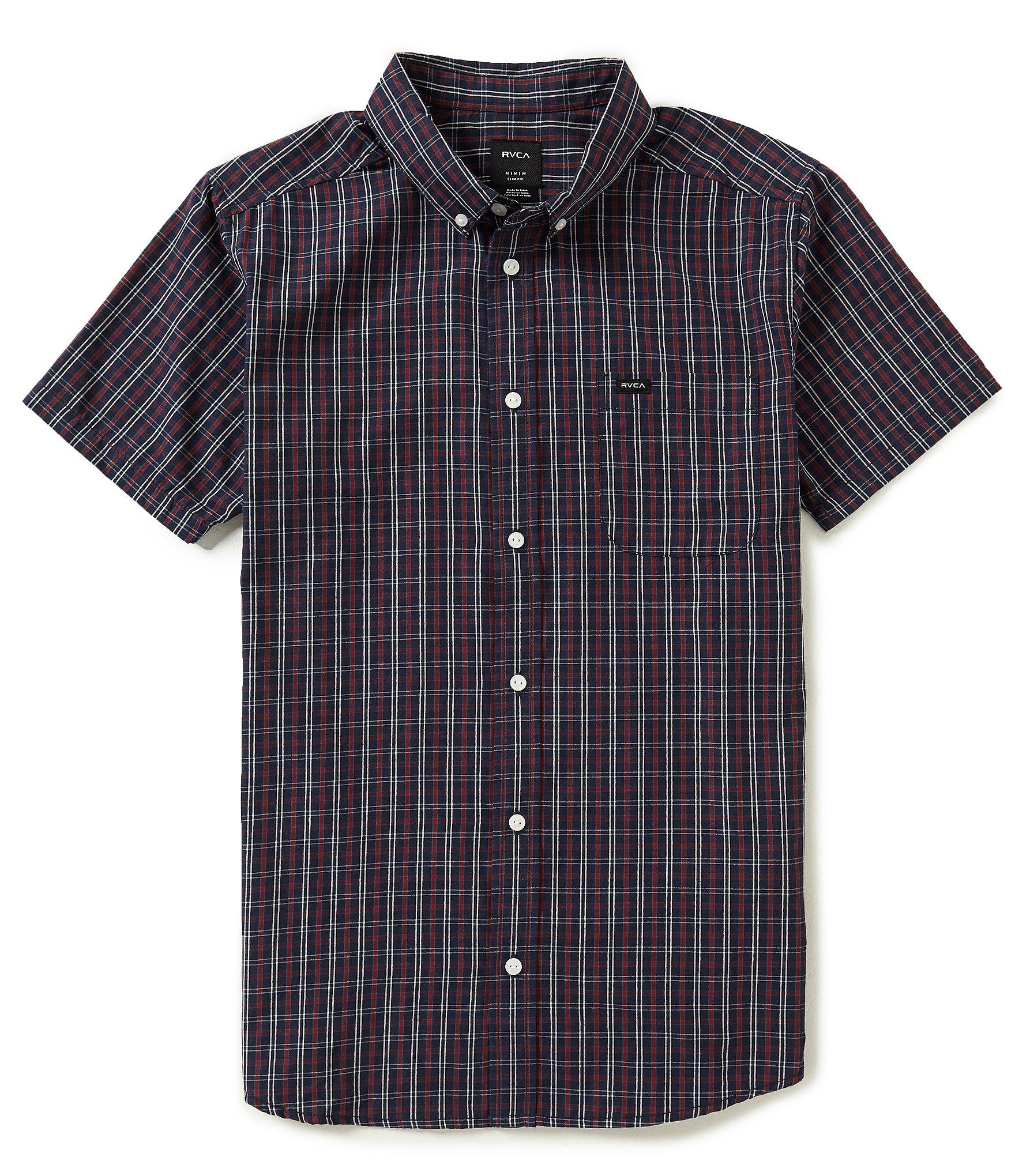 Rvca Slim Fit That 39 Ll Do Plaid Short Sleeve Shirt In Blue