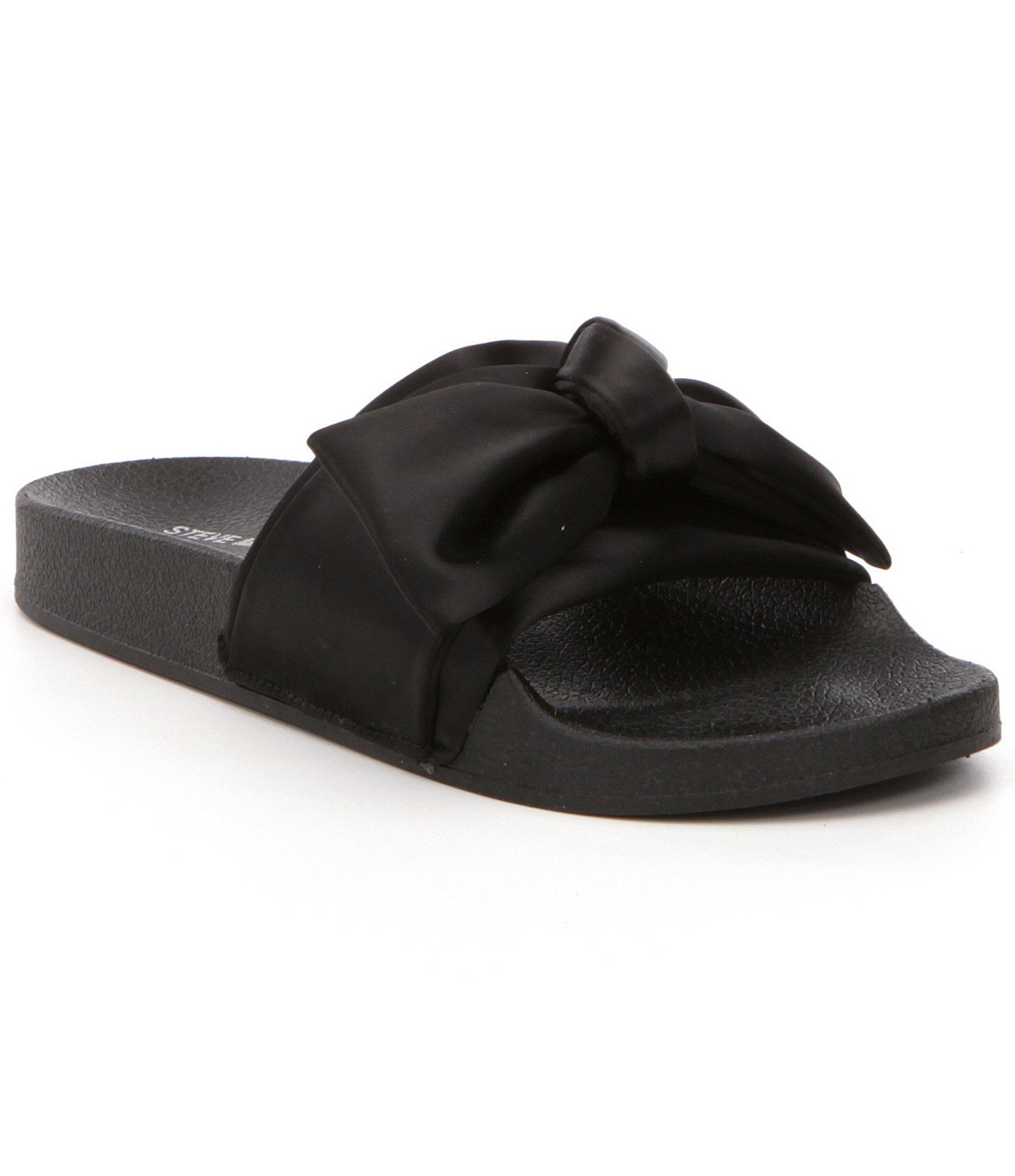 554c2b202c7 Lyst - Steve Madden Silky Bow Slides in Black