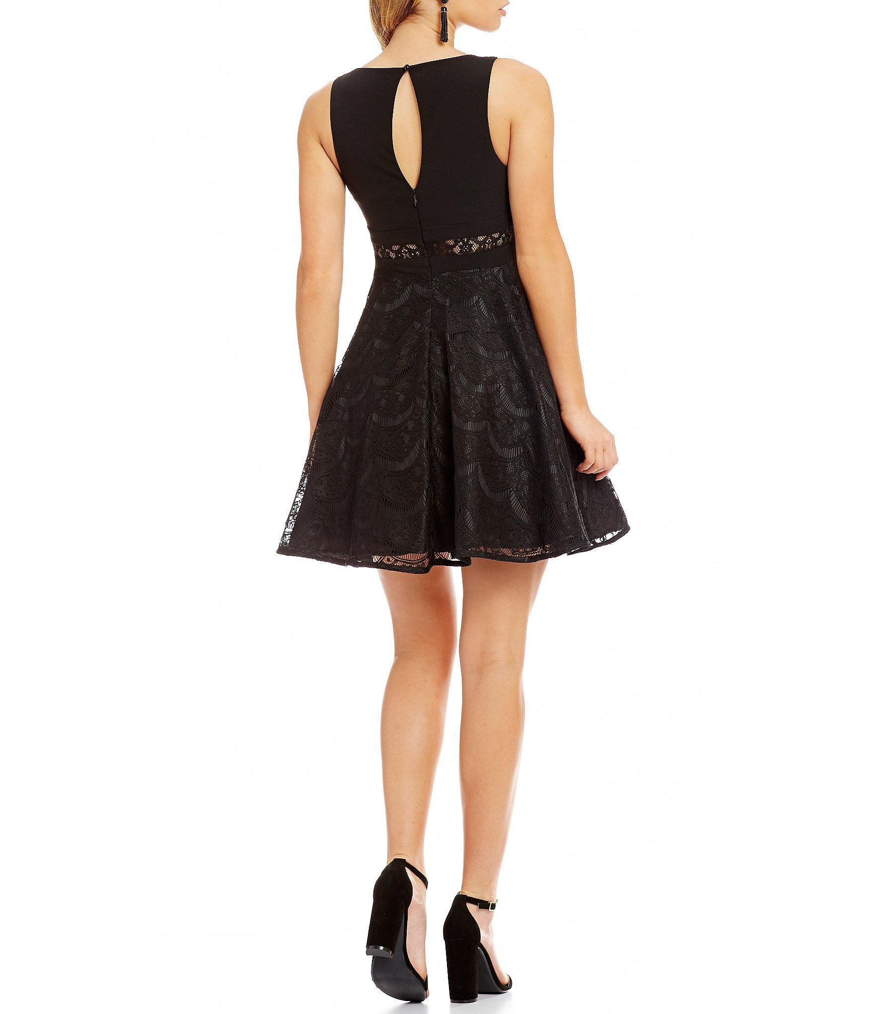 Dear Moon Illusion Lace Inset Fit And Flare Dress In Black