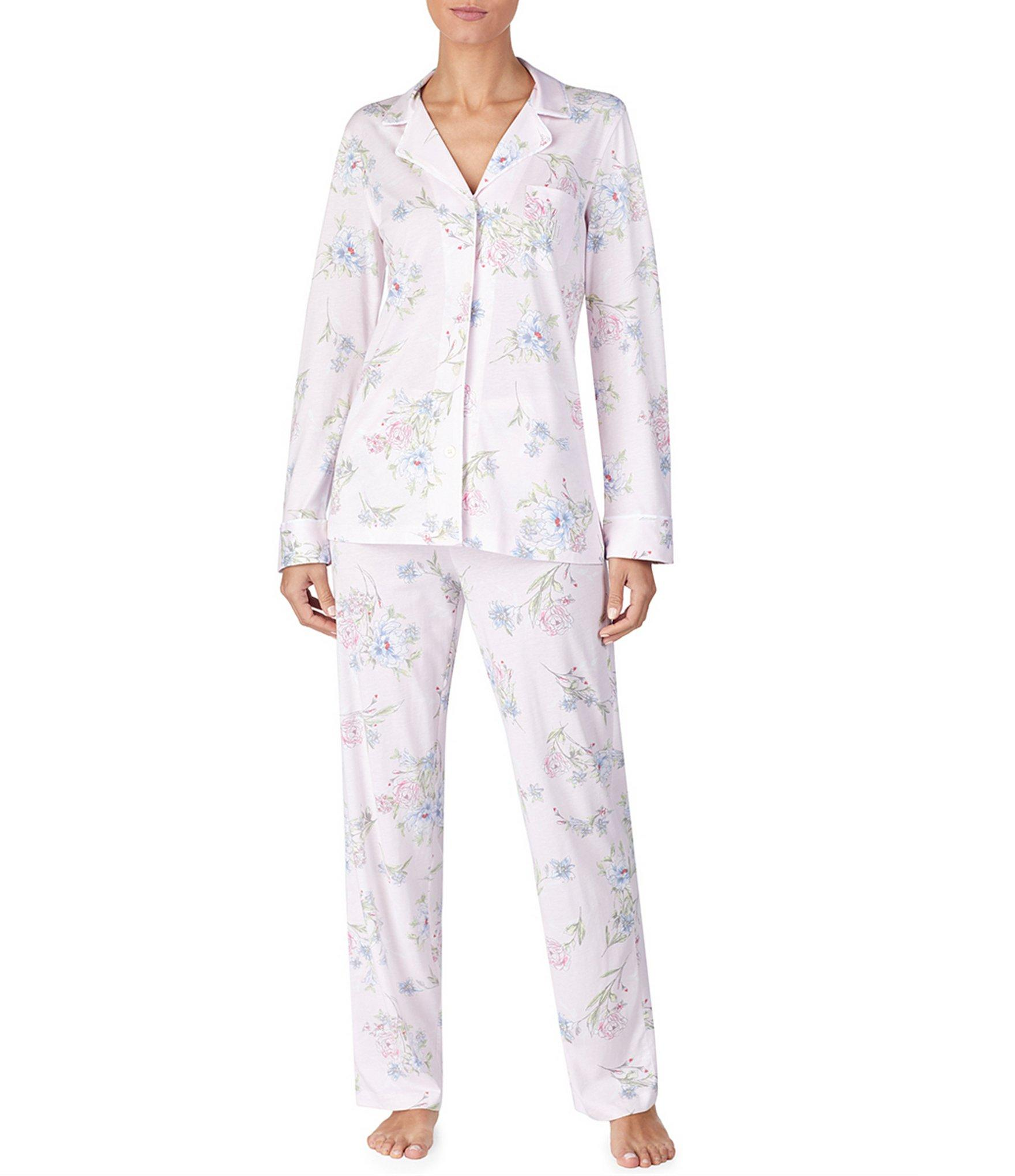 2f4f17f761 Lyst - Lauren By Ralph Lauren Floral-print Jersey Knit Pajama Set in ...