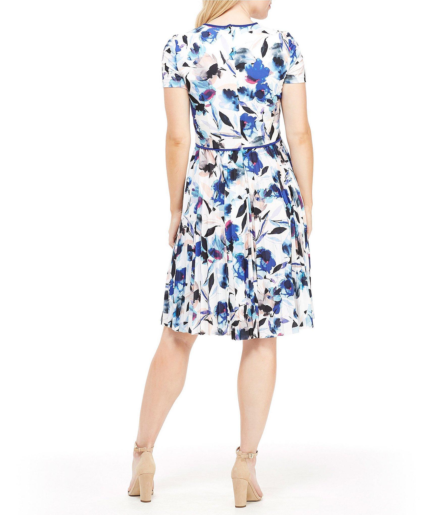 La Maison De Maggy Bondues floral print matte jersey pleated a-line dress