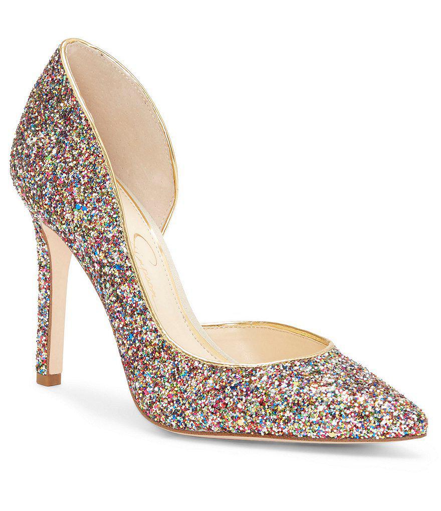 cd2d503124b Jessica Simpson Multicolor Claudette D'orsay Glitter Pumps