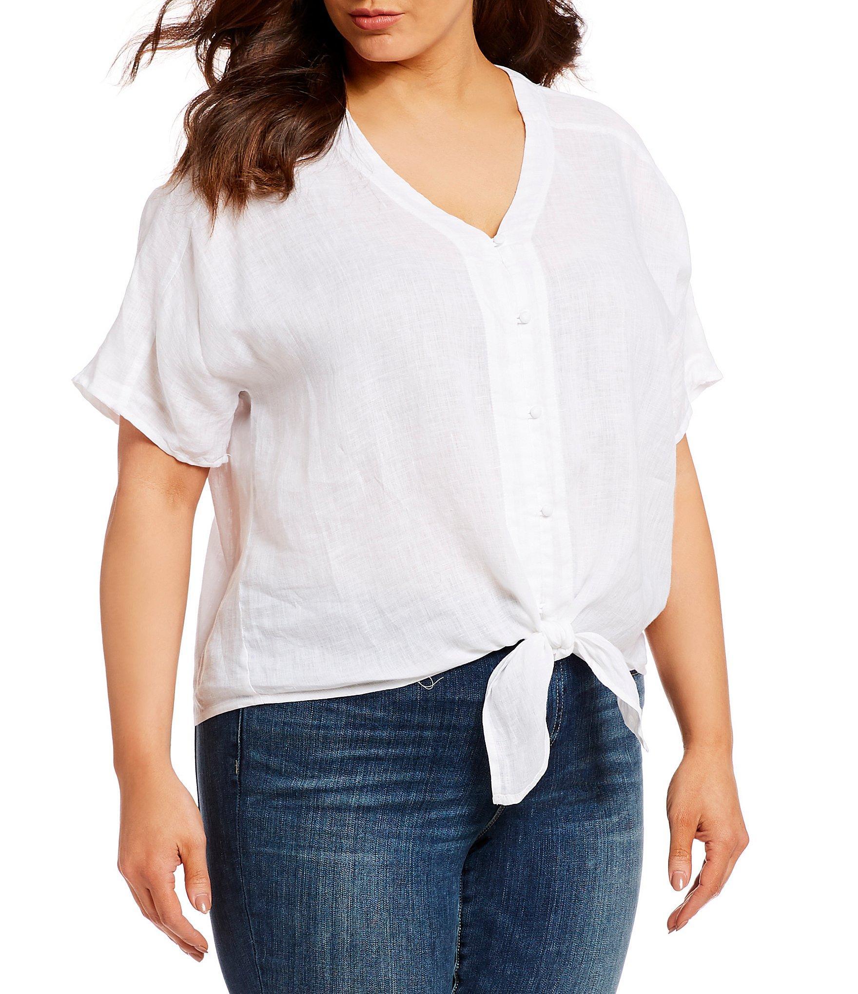 9e90f3c32b76f9 Vince Camuto. Women s White Plus Size Tie Hem Short Sleeve Button Front  Blouse