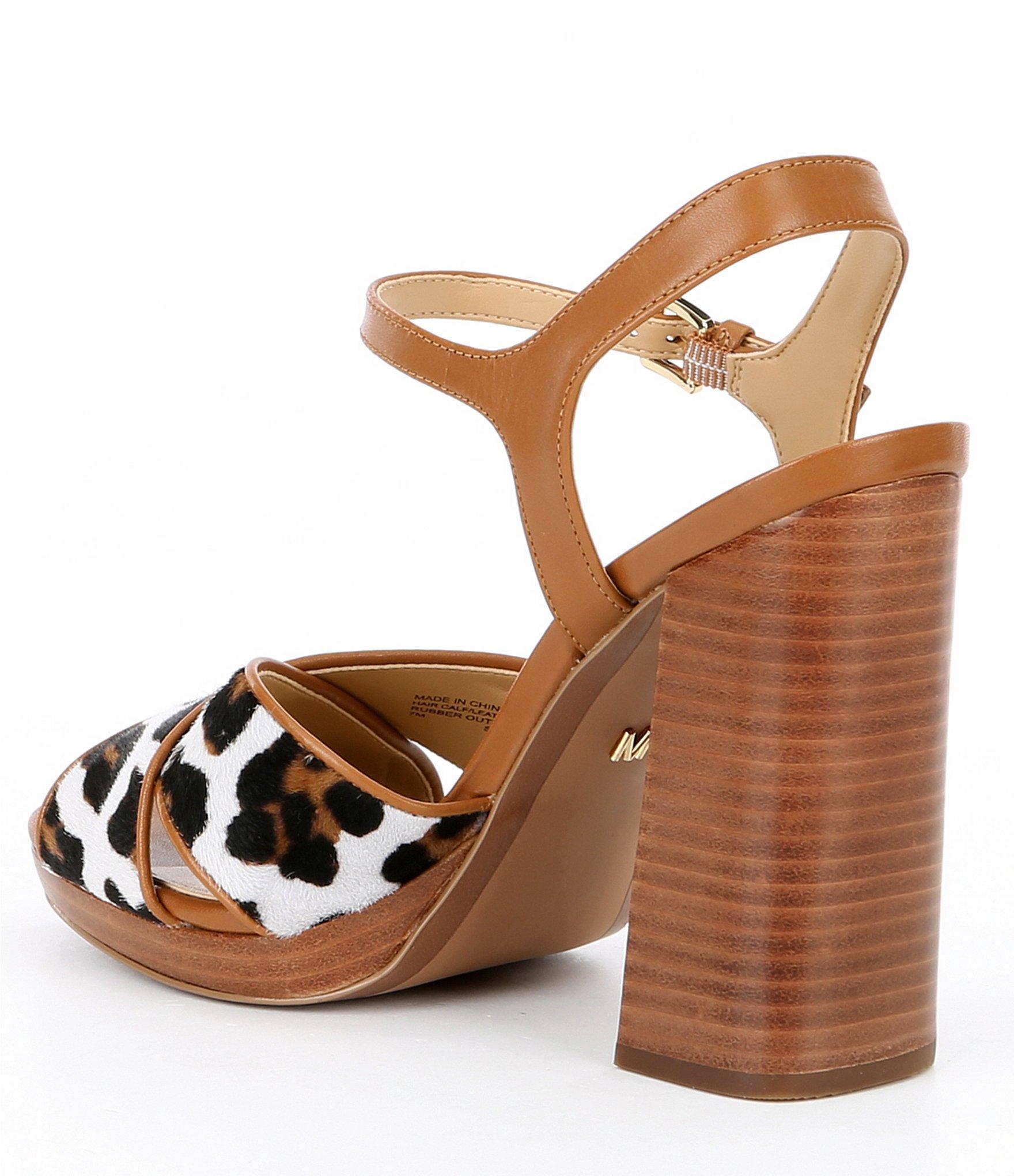 74e3ea90378b MICHAEL Michael Kors - Brown Alexia Leopard Print Platform Block Heel  Sandals - Lyst. View fullscreen
