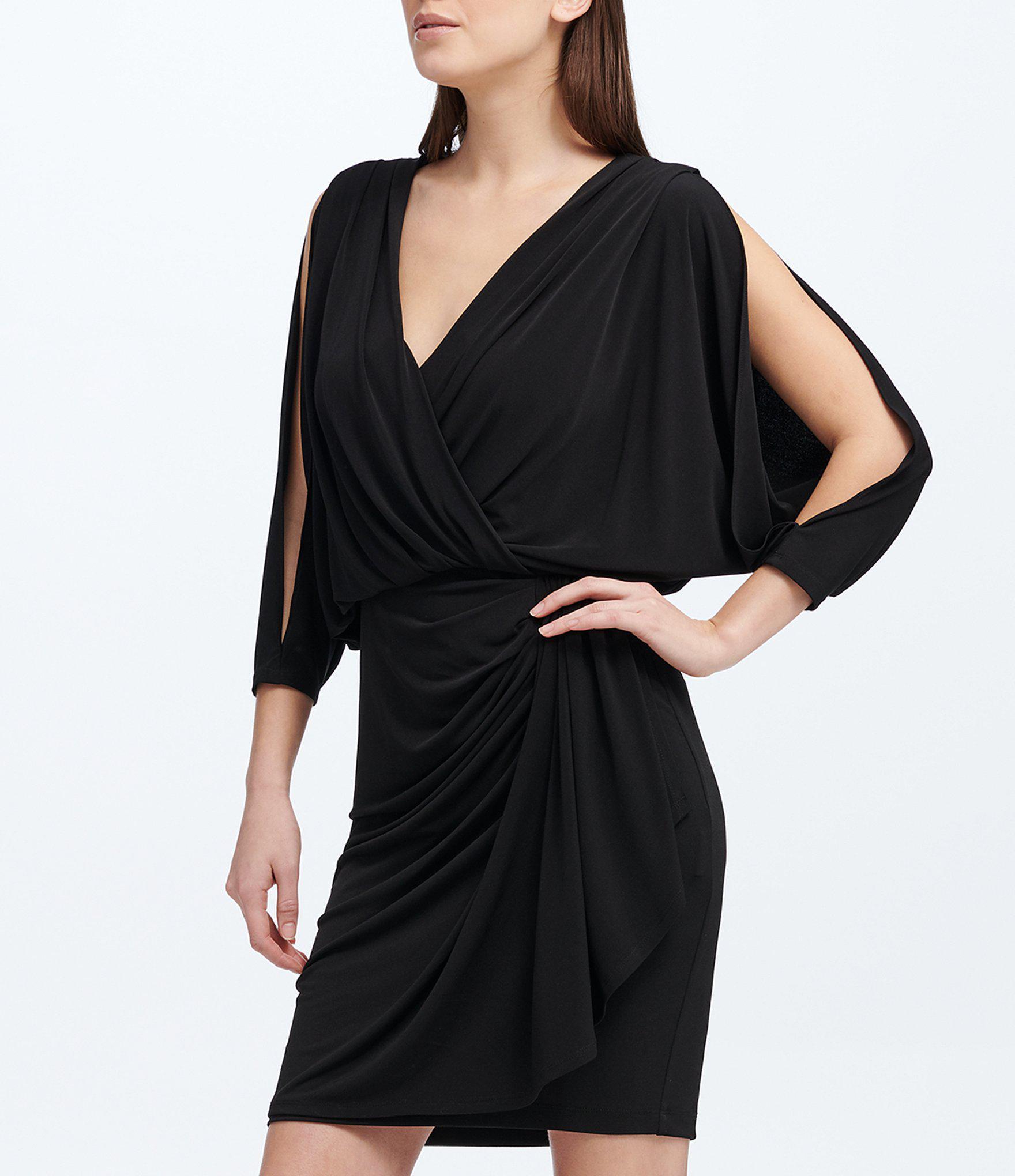 76b86ec47e Lyst - DKNY Donna Karan New York Faux Wrap Blouson Jersey Dress in Black