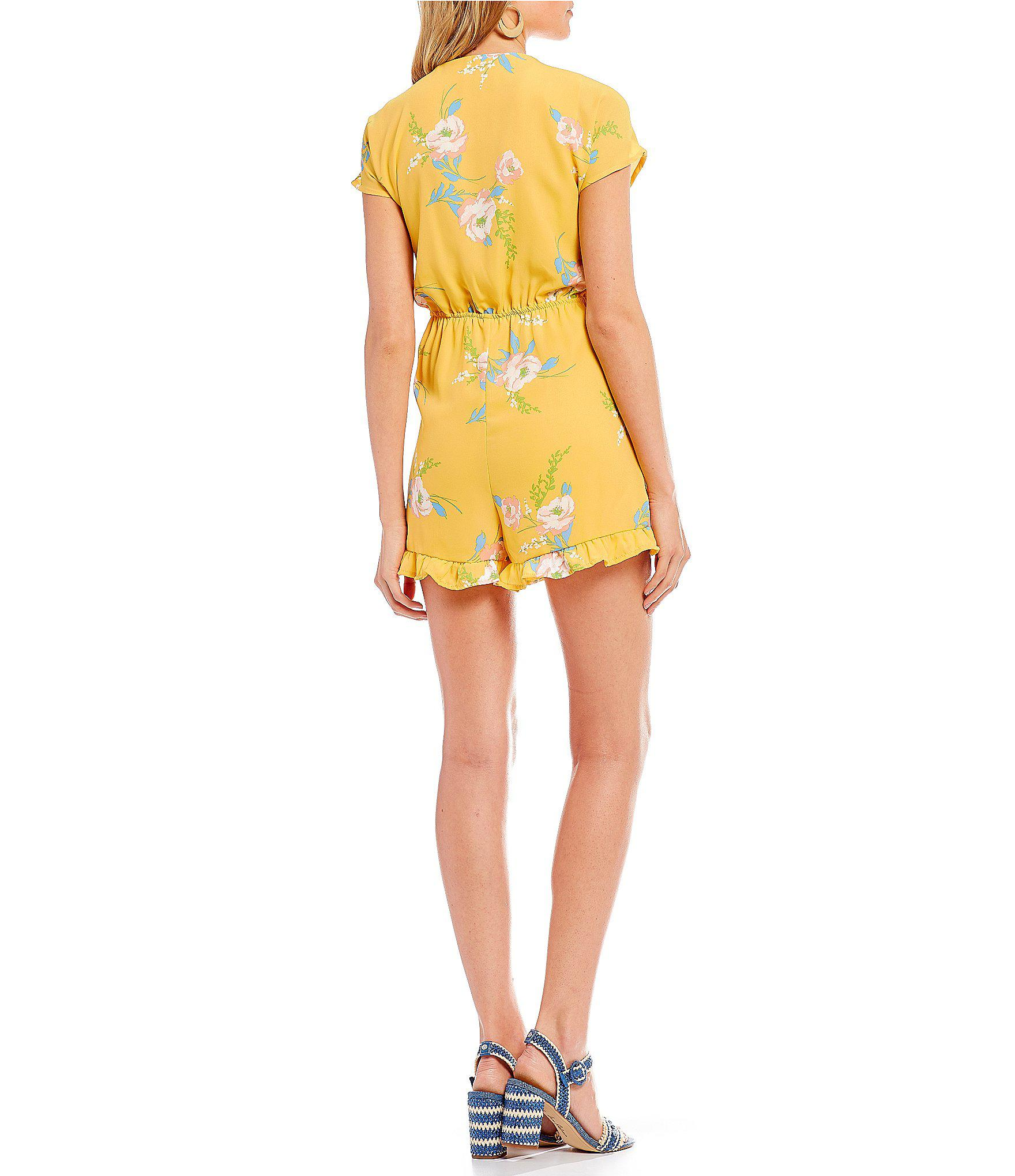 41347bf3b9f8 Lyst - June   Hudson June And Hudson Tie Front Romper in Yellow