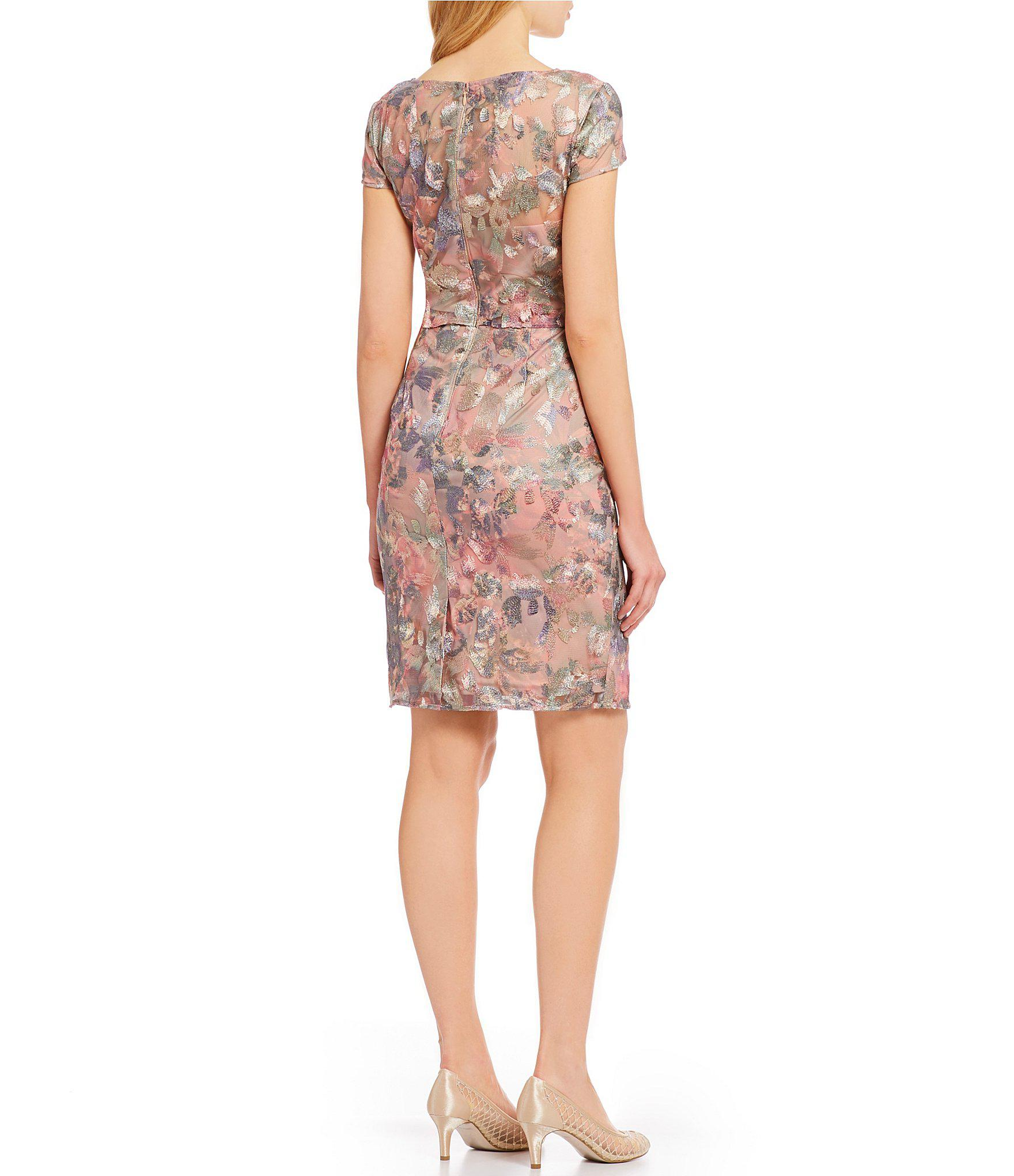 95c3a7af7c0 Adrianna Papell - Pink Metallic Floral Embroidered Popover Sheath Dress -  Lyst. View fullscreen