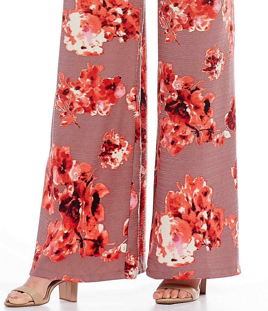 893b7b33f2b Lyst - Sugarlips Floral Print Wide Leg Jumpsuit in Red