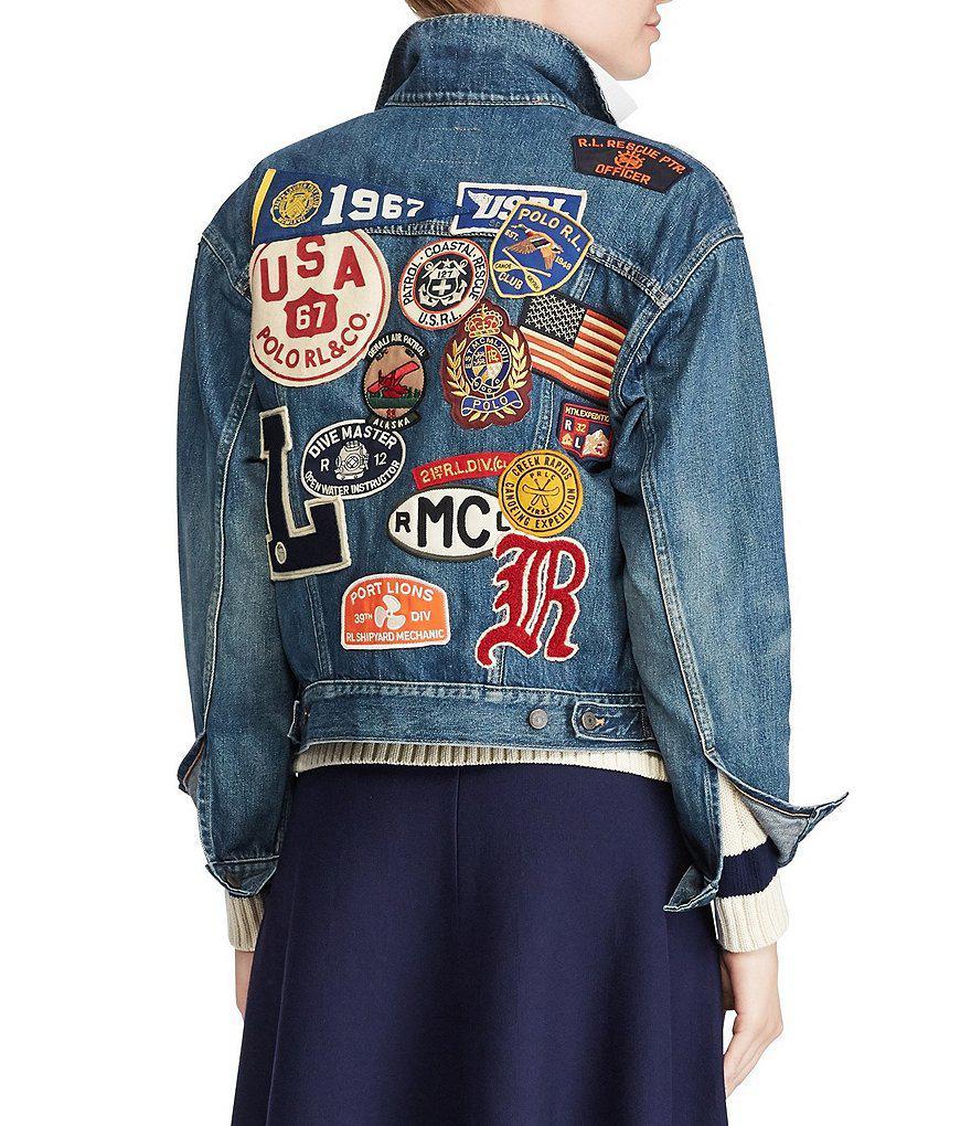 36d47d9c527c Lyst - Polo Ralph Lauren Varsity Patchwork Denim Jacket in Blue