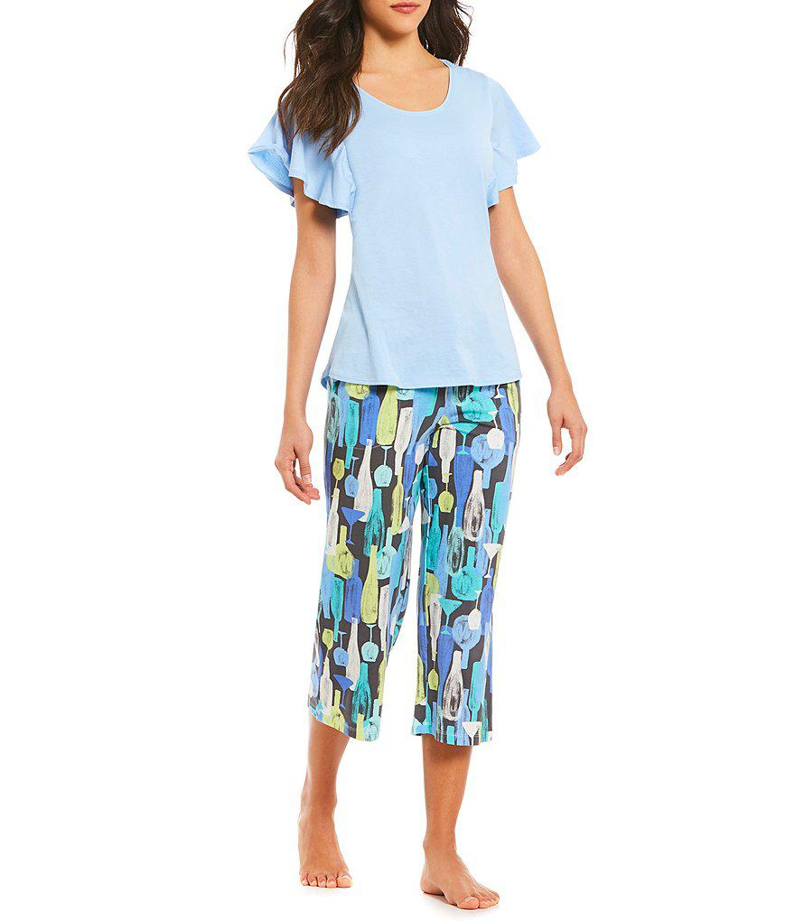 29cb9c5663 Lyst - Hue Tique Drink Water-print Capri Pants in Blue