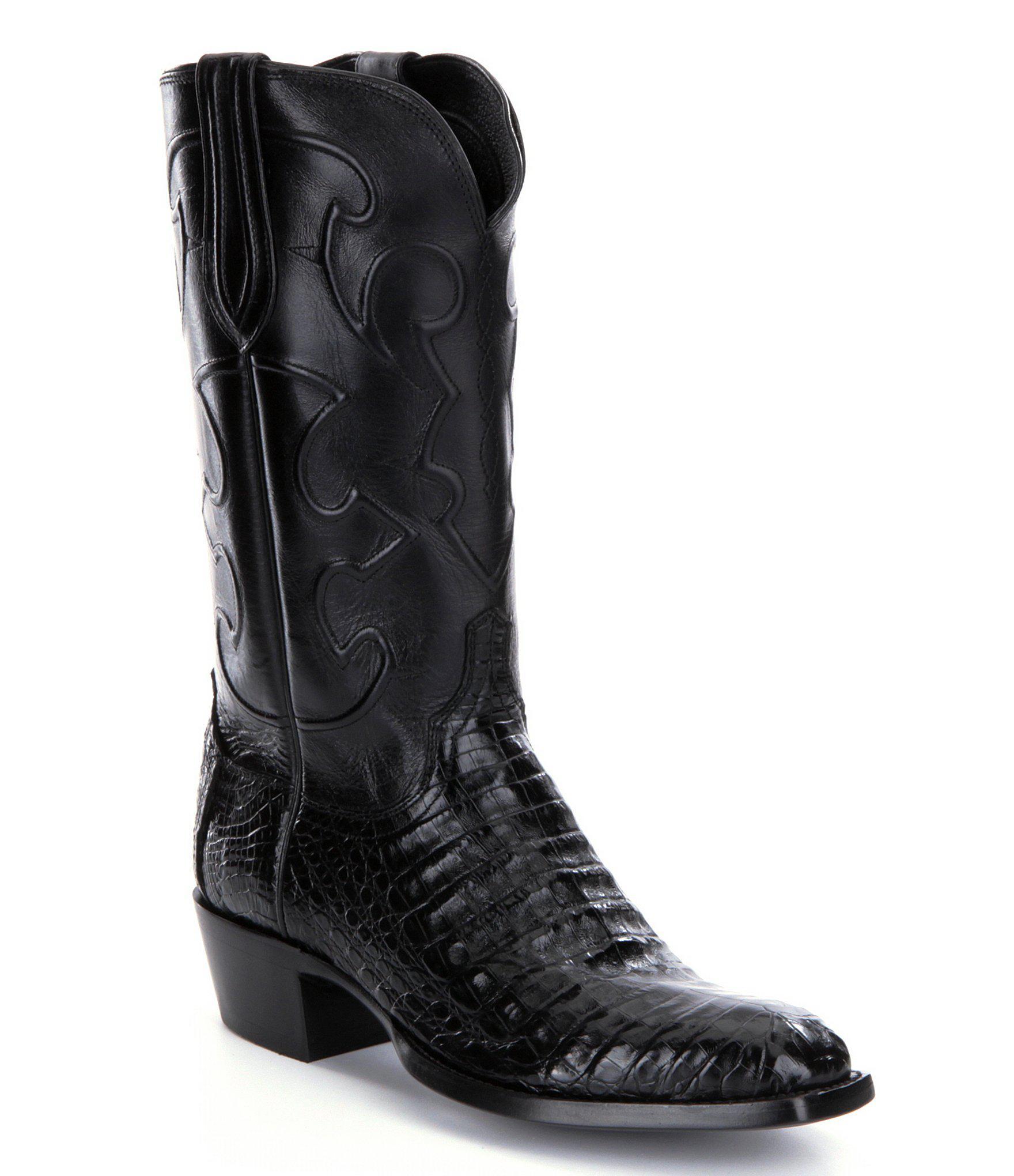 0ac675fd61f Black Charles Men ́s Crocodile Belly Boots