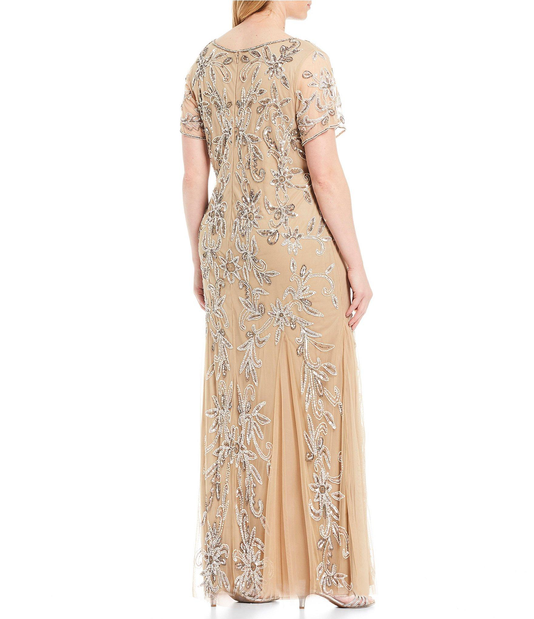 bb0c5e0044e Pisarro Nights - Natural Plus Size V-neck Beaded Gown - Lyst. View  fullscreen