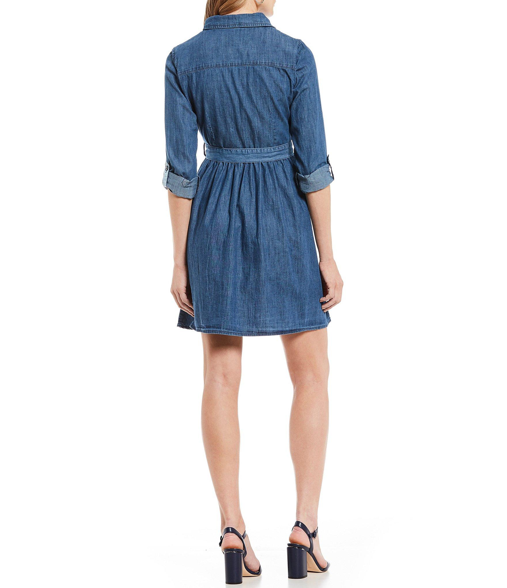 2f718b8c Draper James - Blue Chambray Roll-tab Sleeve Tie Waist Shirt Dress - Lyst.  View fullscreen