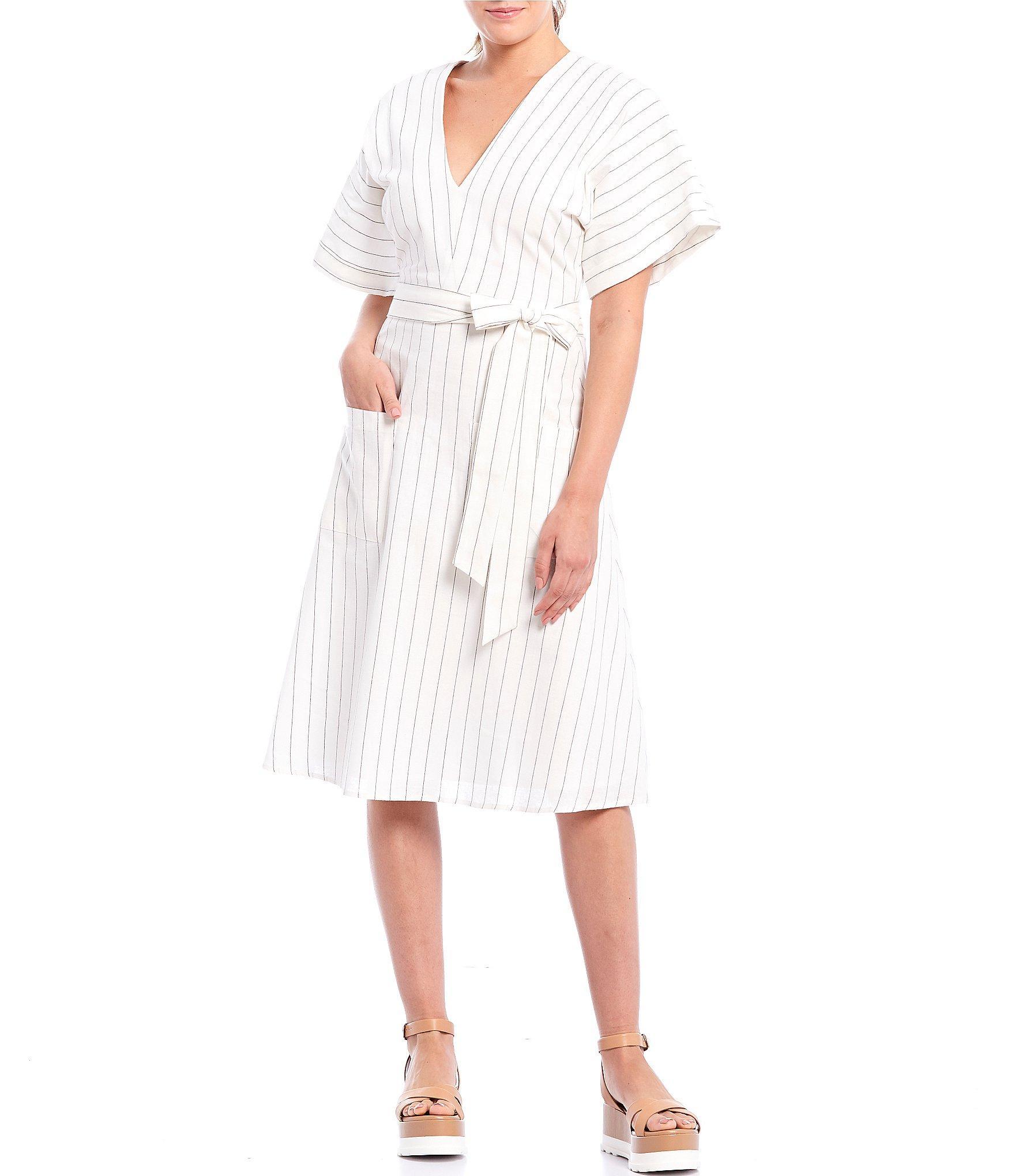 d6f10dc99 Gianni Bini Lauren Pinstripe Tie Waist A-line Midi Dress in White ...