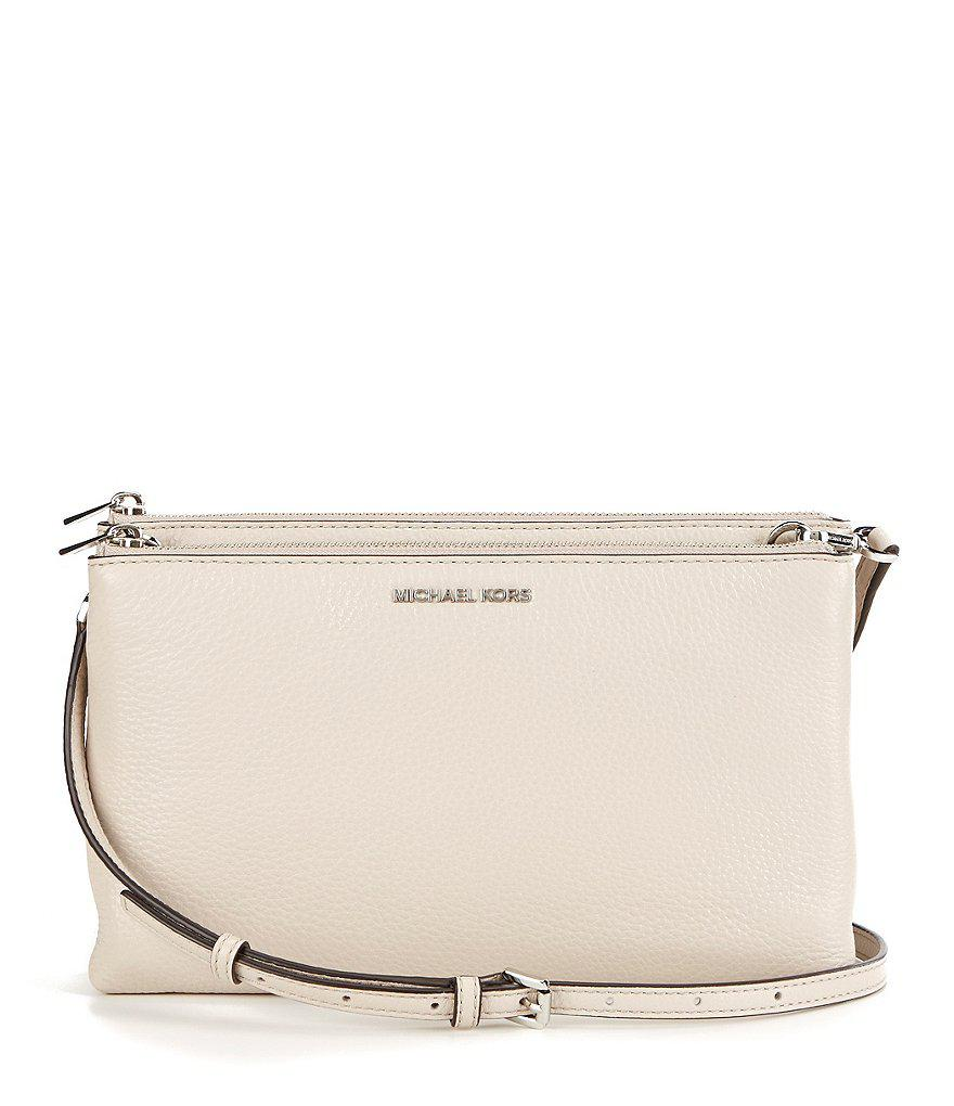 f3bf635a1515 Lyst - MICHAEL Michael Kors Adele Double-zip Cross-body Bag in Natural