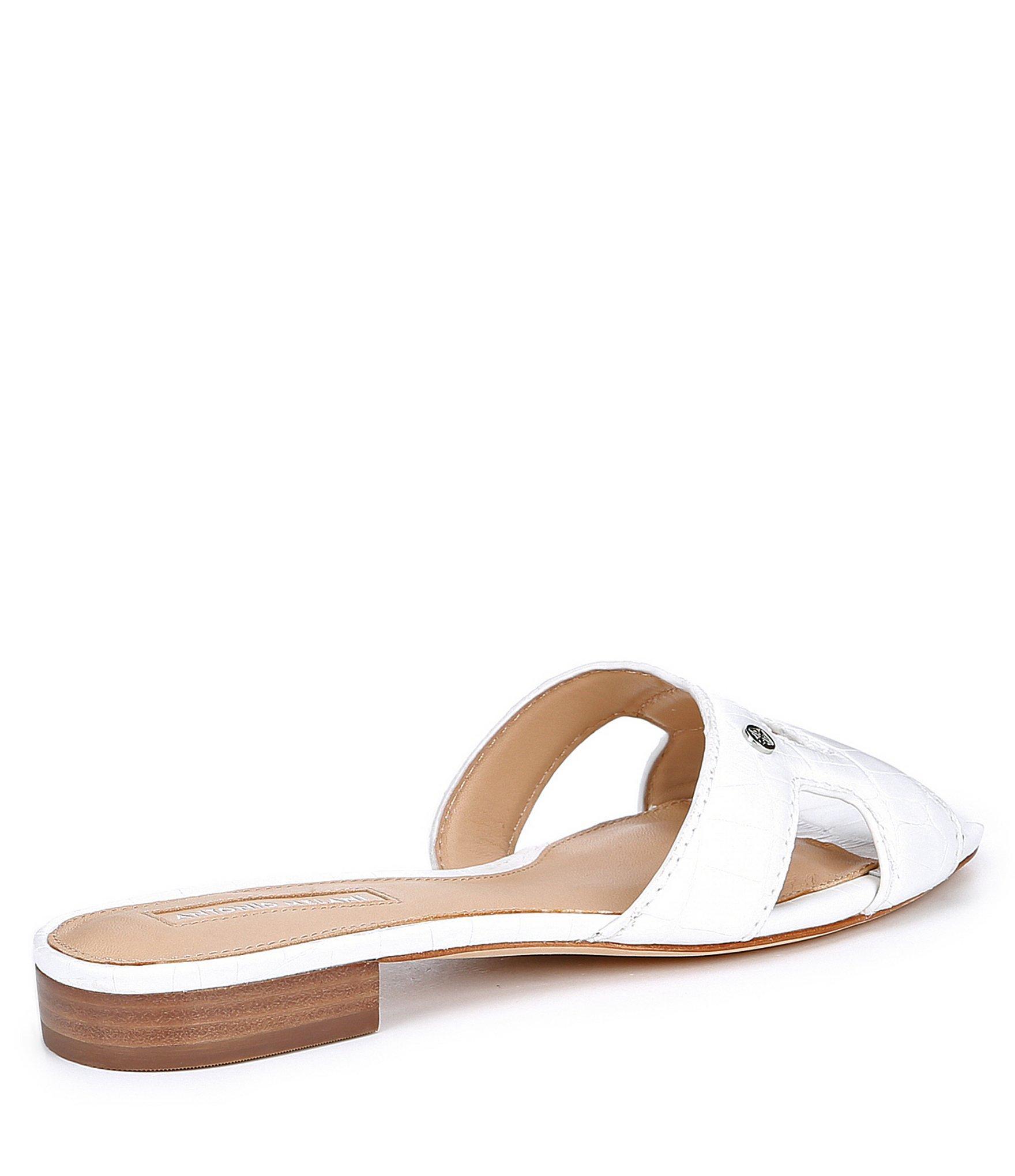 32bb01d64e6a61 Lyst - Antonio Melani Carrah Logo Slide Sandals in White