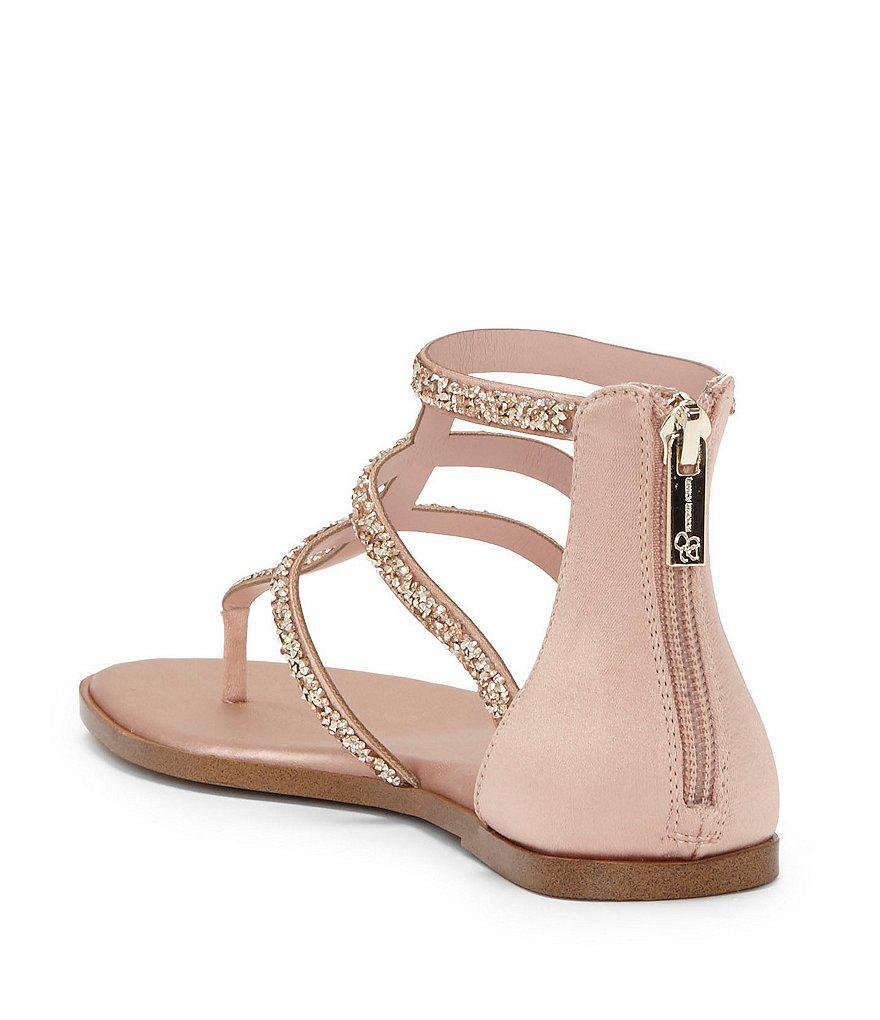 Cammie Rhinestone Sparkle Detail Flat Sandals 6XKY5