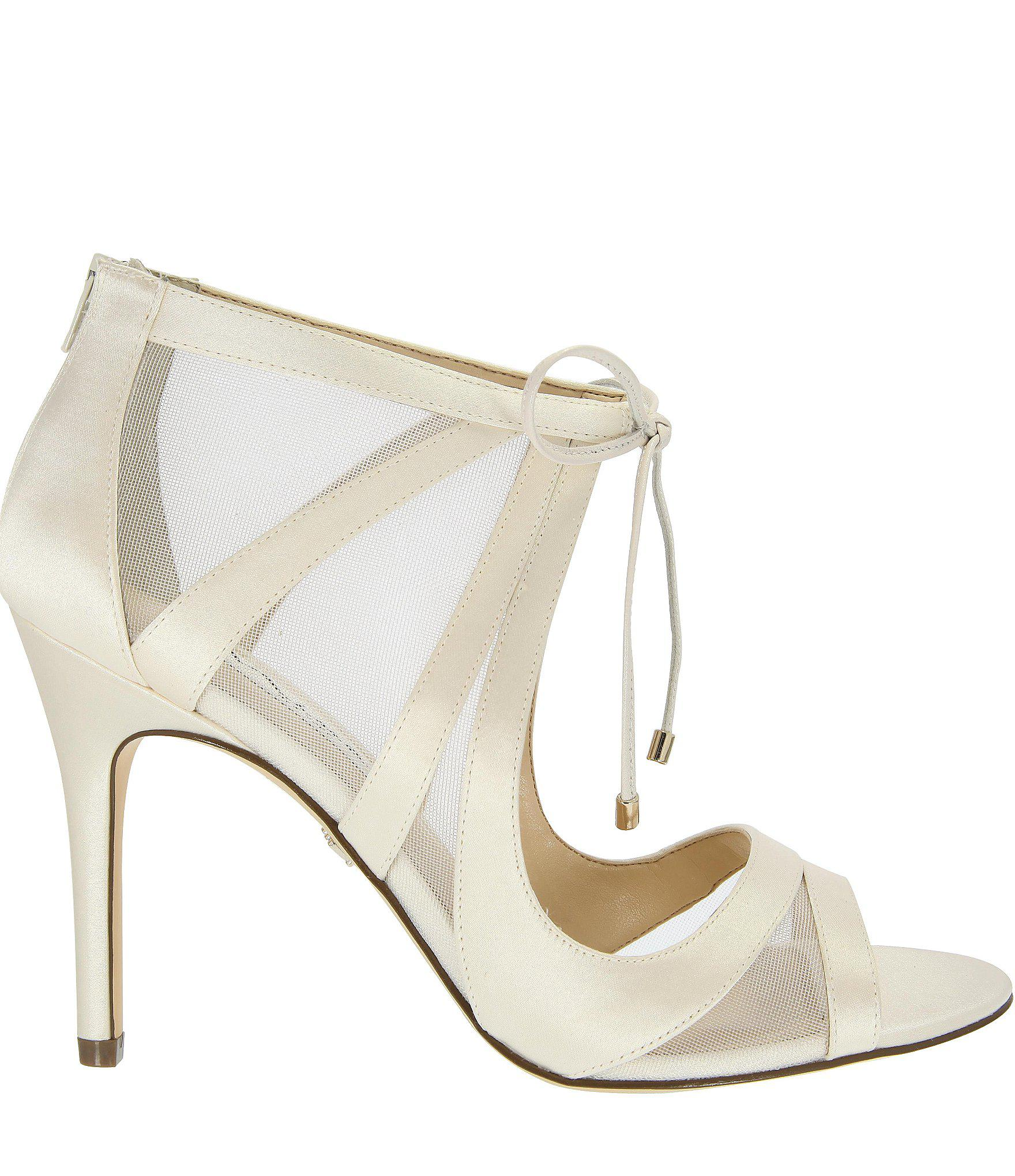 Lyst - Nina Cherie Satin   Mesh Ankle Tie Dress Sandals in White ...