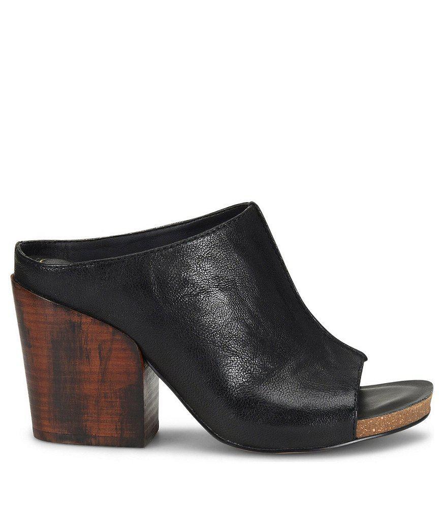 Isola Isabella Leather Block Heel Clogs fI0J03NIwd