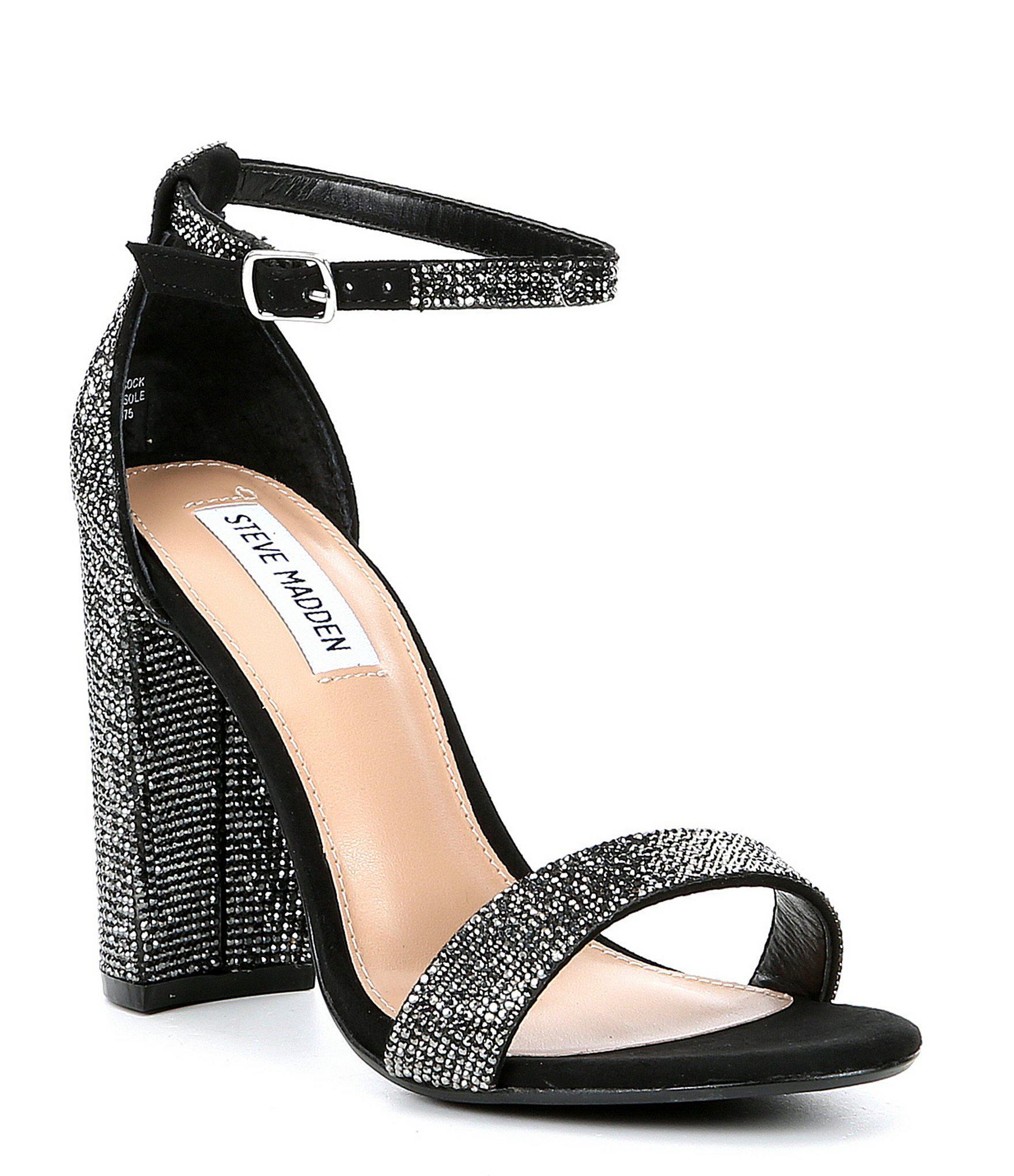 e0ef59a9d732d Steve Madden. Women s Black Carrson Rhinestone Ankle Strap Block Heel Dress  Sandals