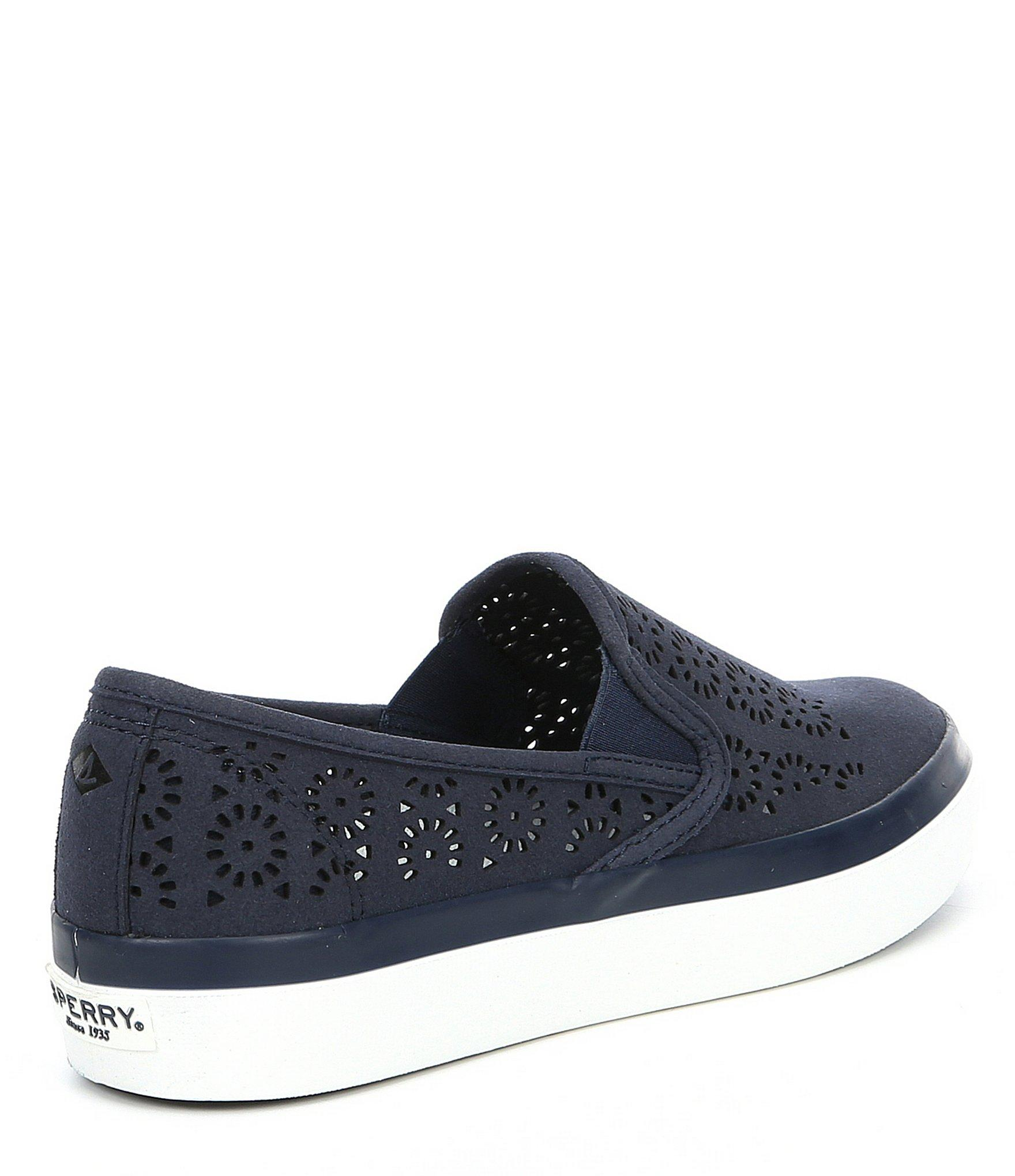 On Perforated Sider Slip Top Sneakers Sperry Blue Women's Seaside Aerial SzMVpUq