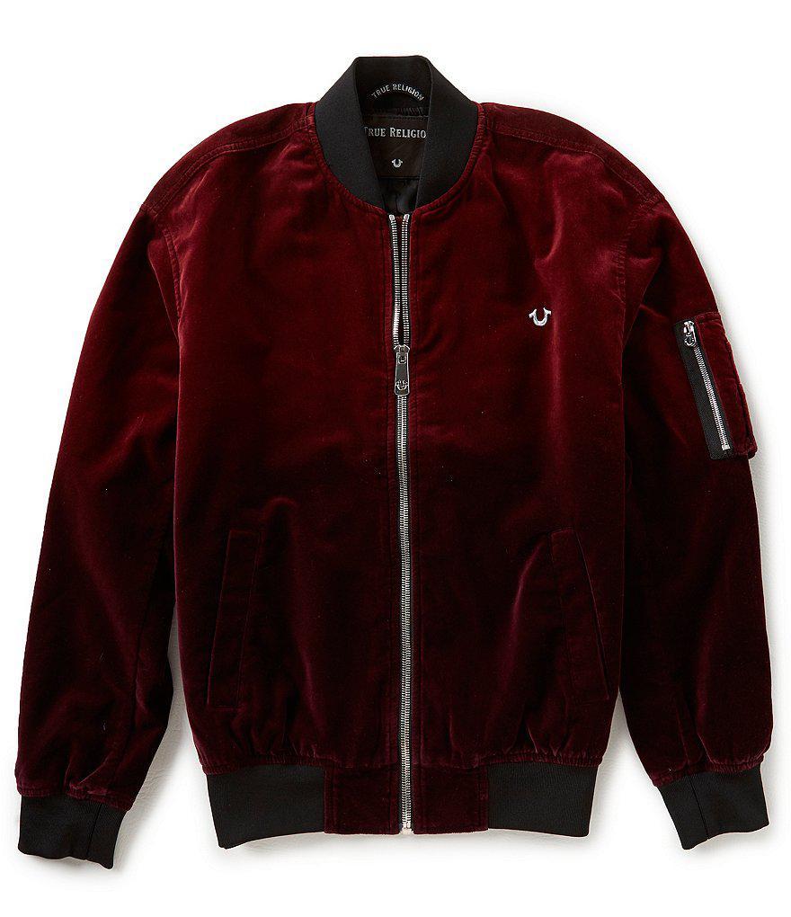f378db414 True Religion Red Dip Dye Velvet Bomber Jacket for men