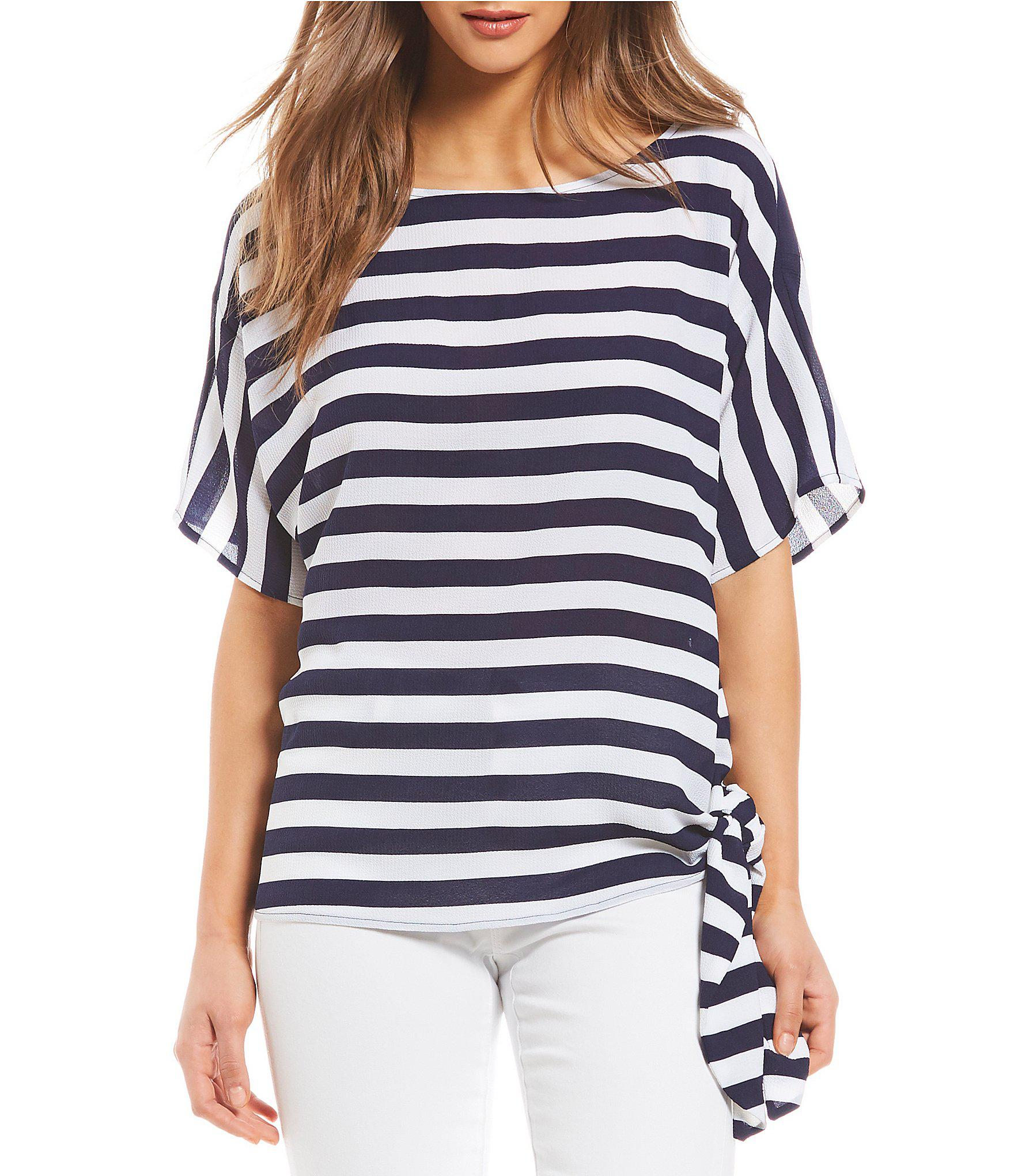 421a3b853ad Lyst - Michael Michael Kors Graphic Stripe Print Side-tie Top in Blue