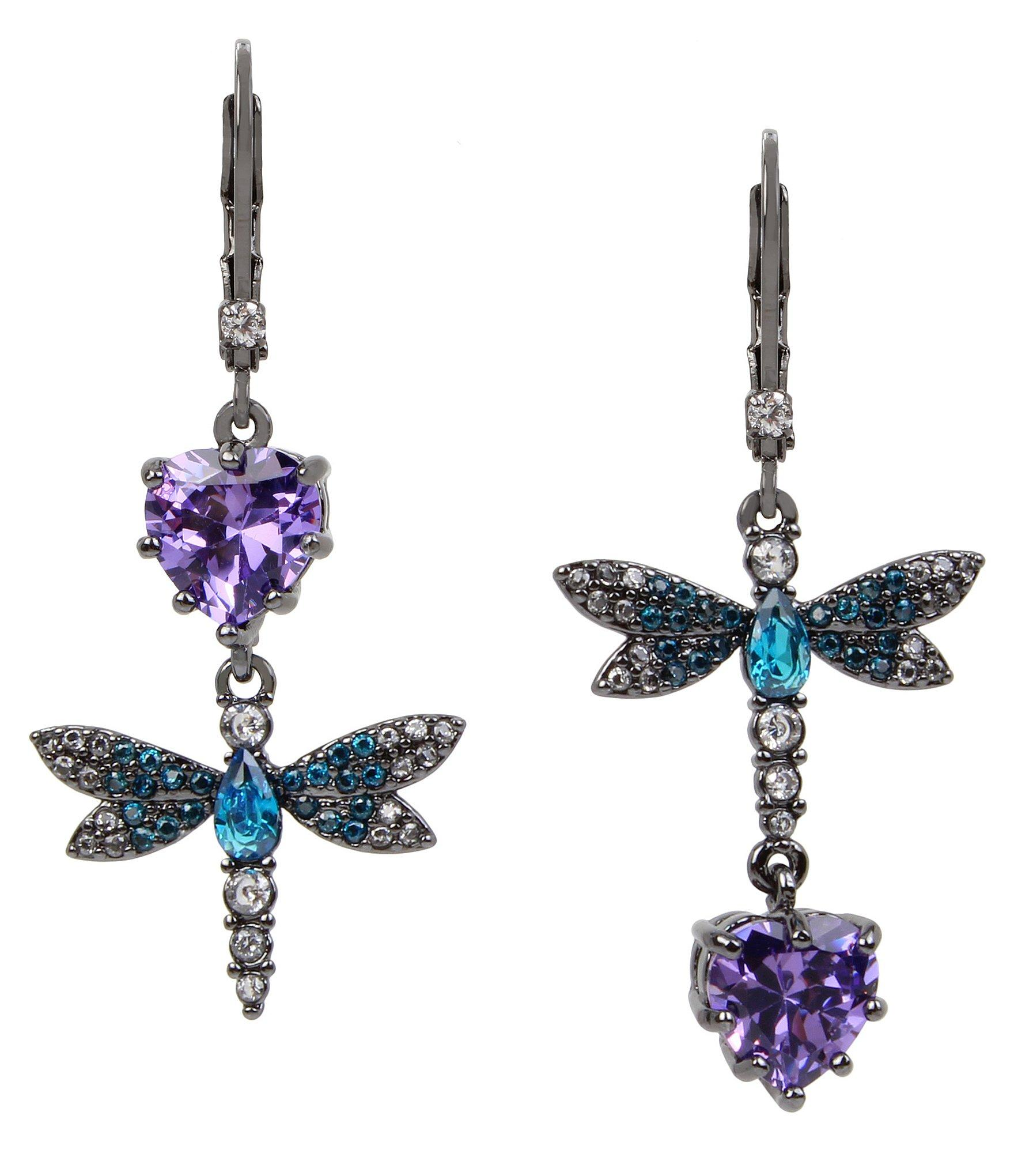 d9c8a3a70 Lyst - Betsey Johnson Cubic Zirconia Dragonfly Double-drop Mismatch ...