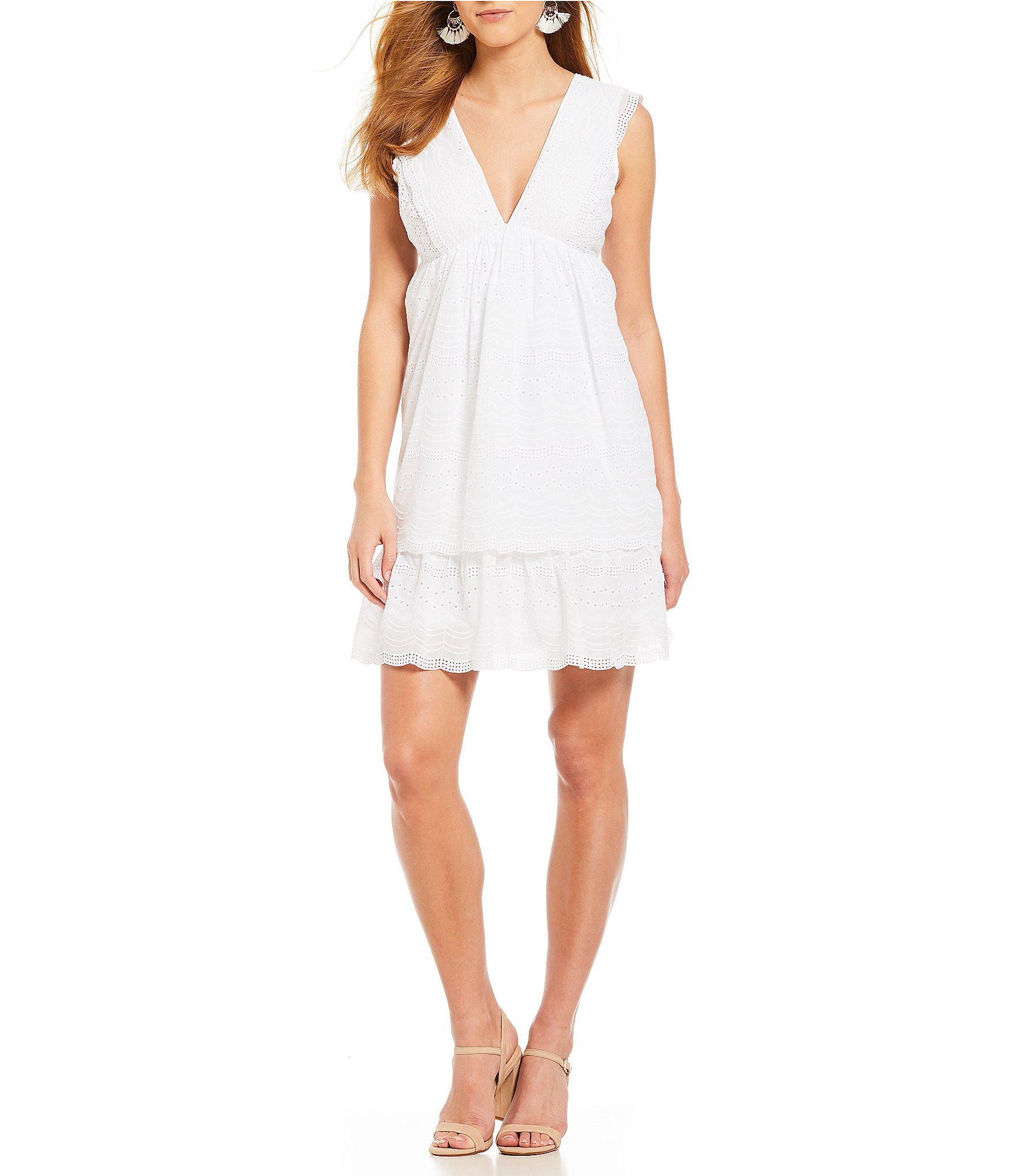 0b644a4c6fb Gianni Bini Lila Tiered Eyelet Lace Dress in White - Lyst