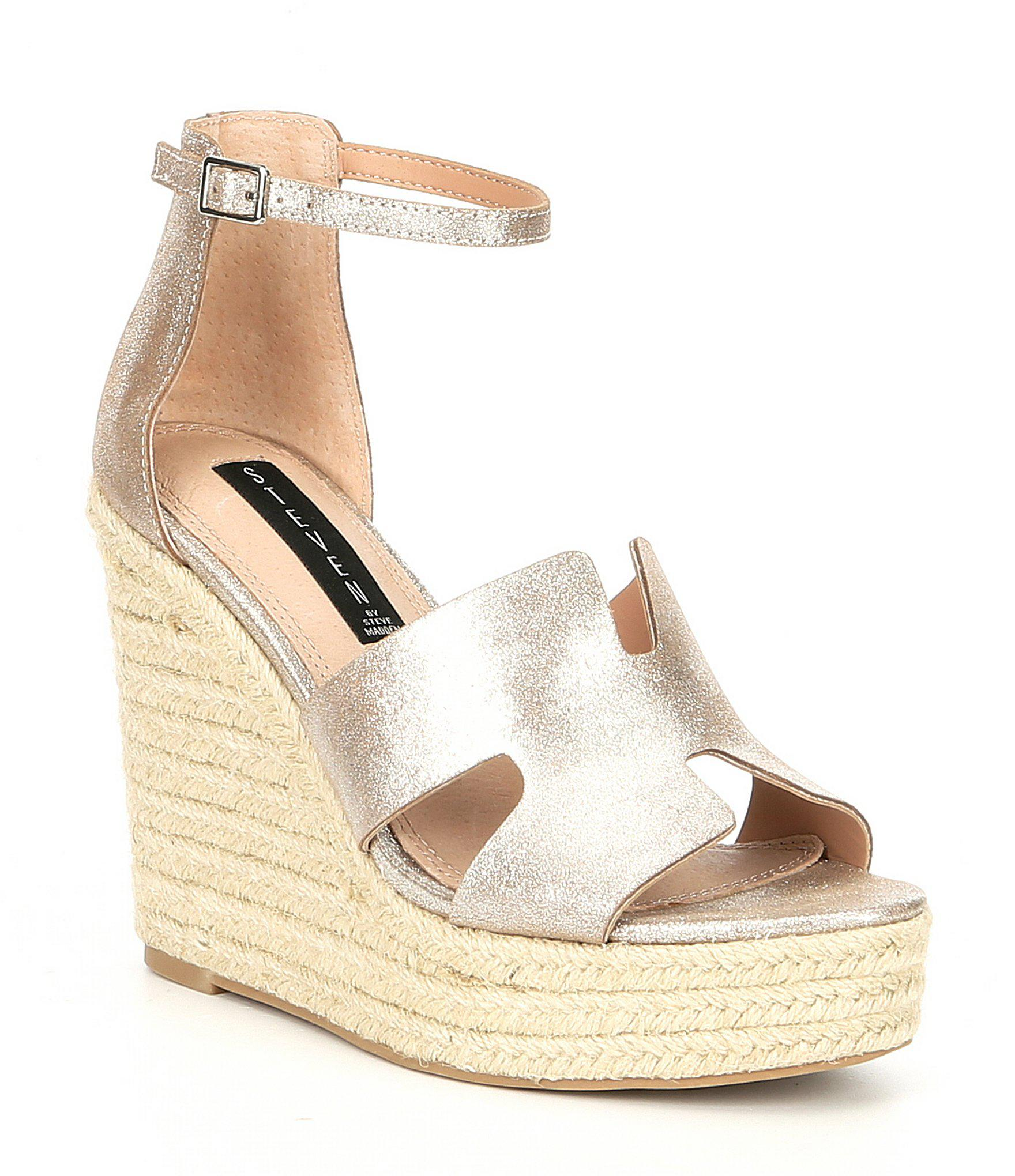 5331a2ed102 Steve Madden. Women s Metallic Steven By Sirena Leather Espadrille Wedge  Sandals