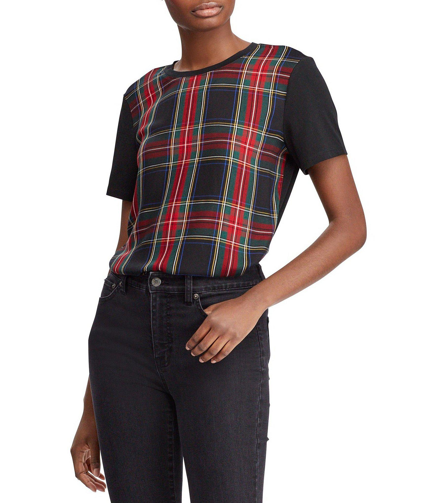 eb6734f07f9bc1 Lyst - Lauren By Ralph Lauren Plaid-panel T-shirt in Black