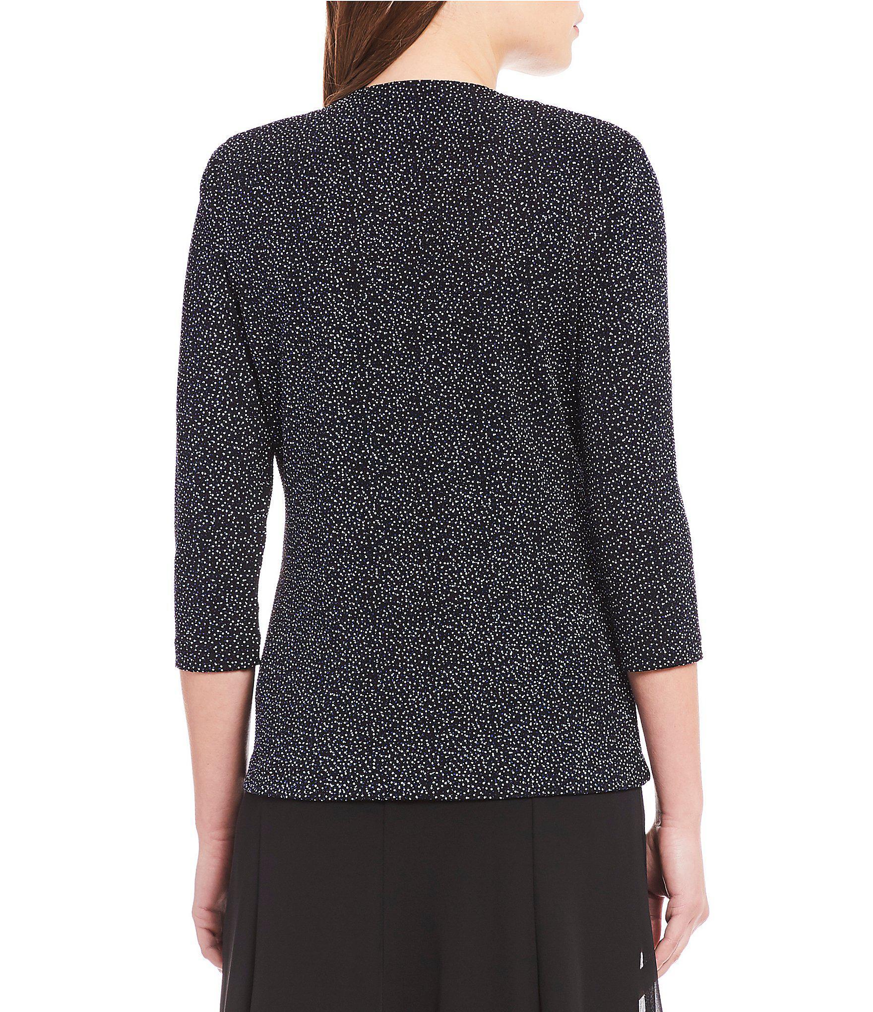 a847a32c8f8 Alex Evenings - Black 3 4 Sleeve Printed Glitter Knit Twinset - Lyst. View  fullscreen