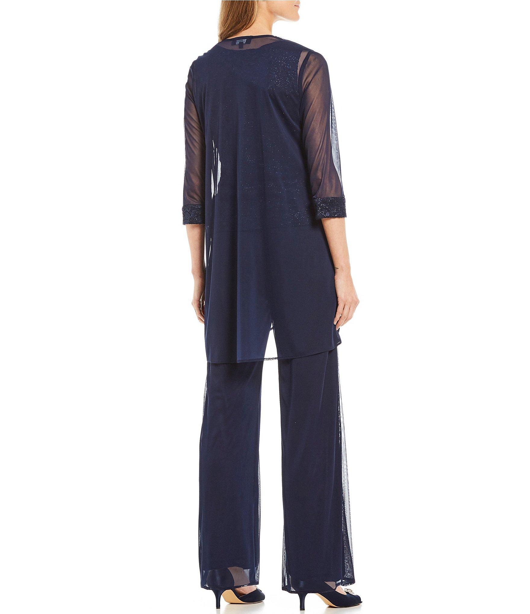 e062f81fe8ce4 Lyst - R   M Richards 3-piece Lace Flyaway Pant Set in Blue