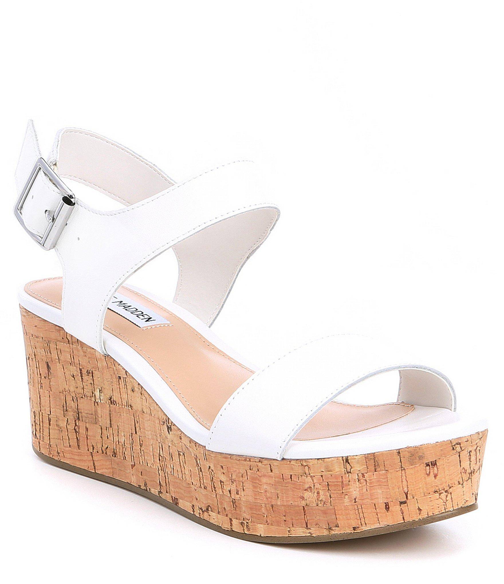 33f66d2379ab Lyst - Steve Madden Breathe Leather   Cork Platform Sandals in White