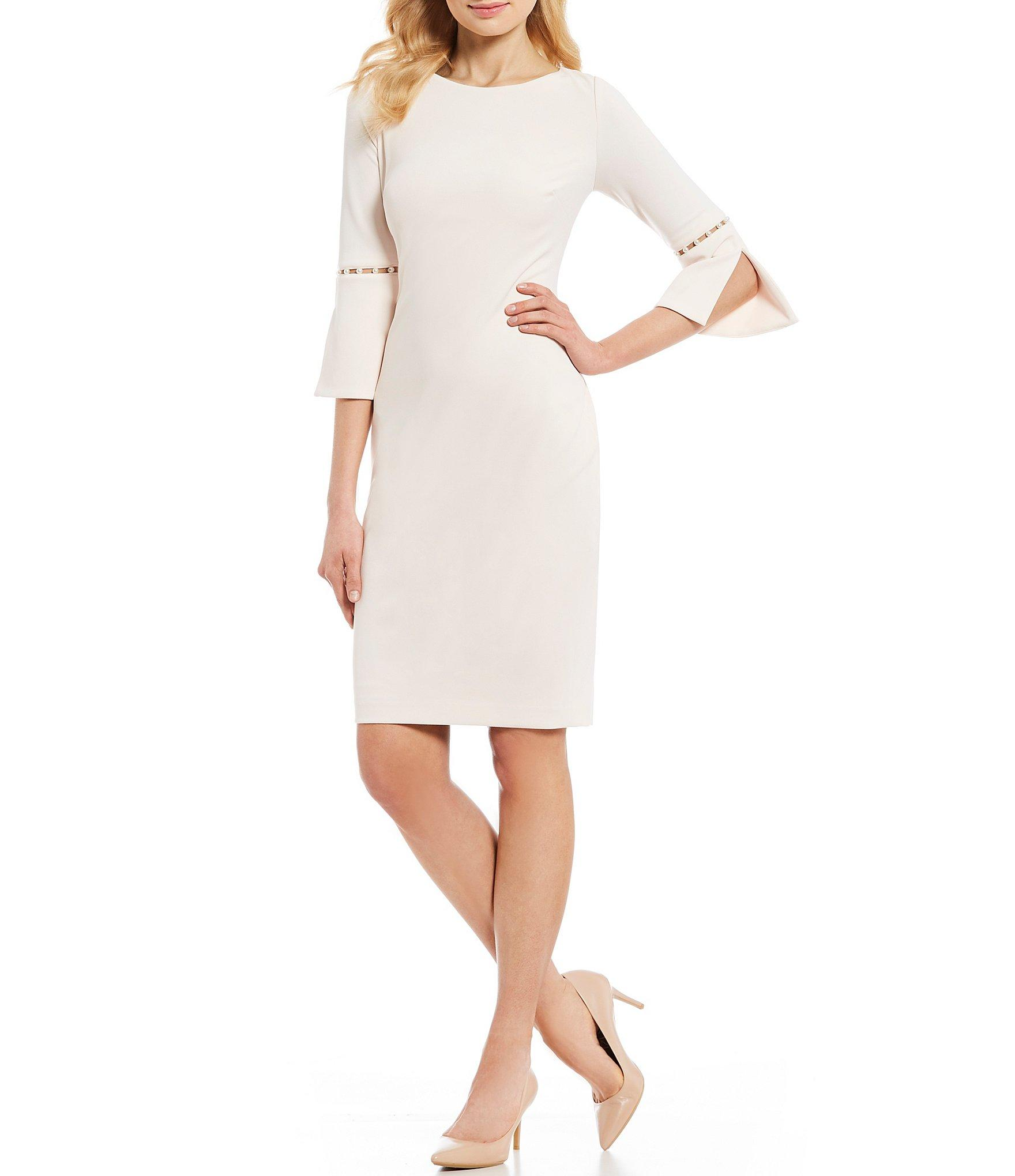 19308784b0 Calvin Klein. Women s Pearl Trim Split Bell Sleeve Sheath Dress