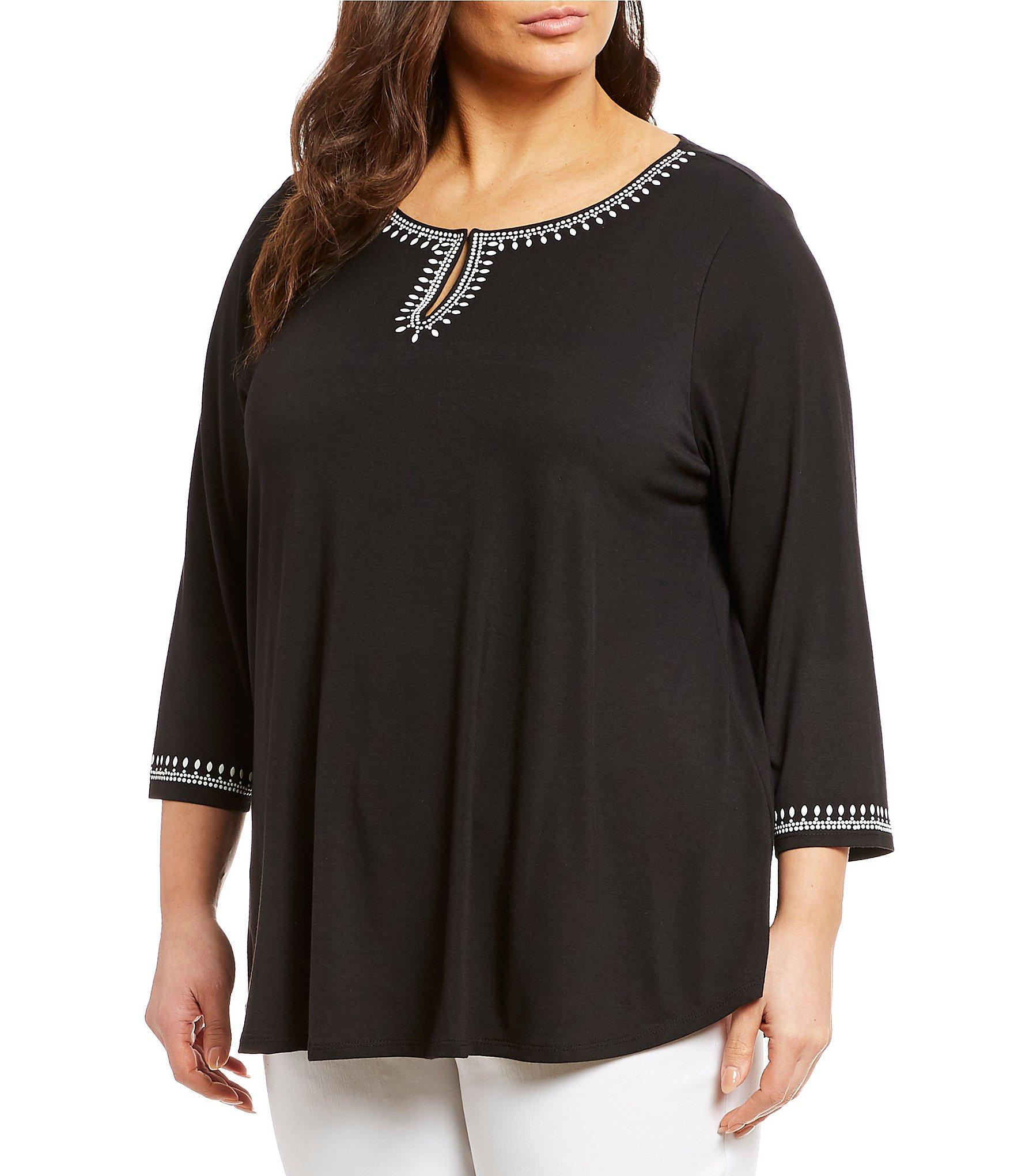 bc155f9e4c3 Lyst - Ruby Rd. Plus Size Embellished Notch V-neck 3 4 Sleeve Top in ...