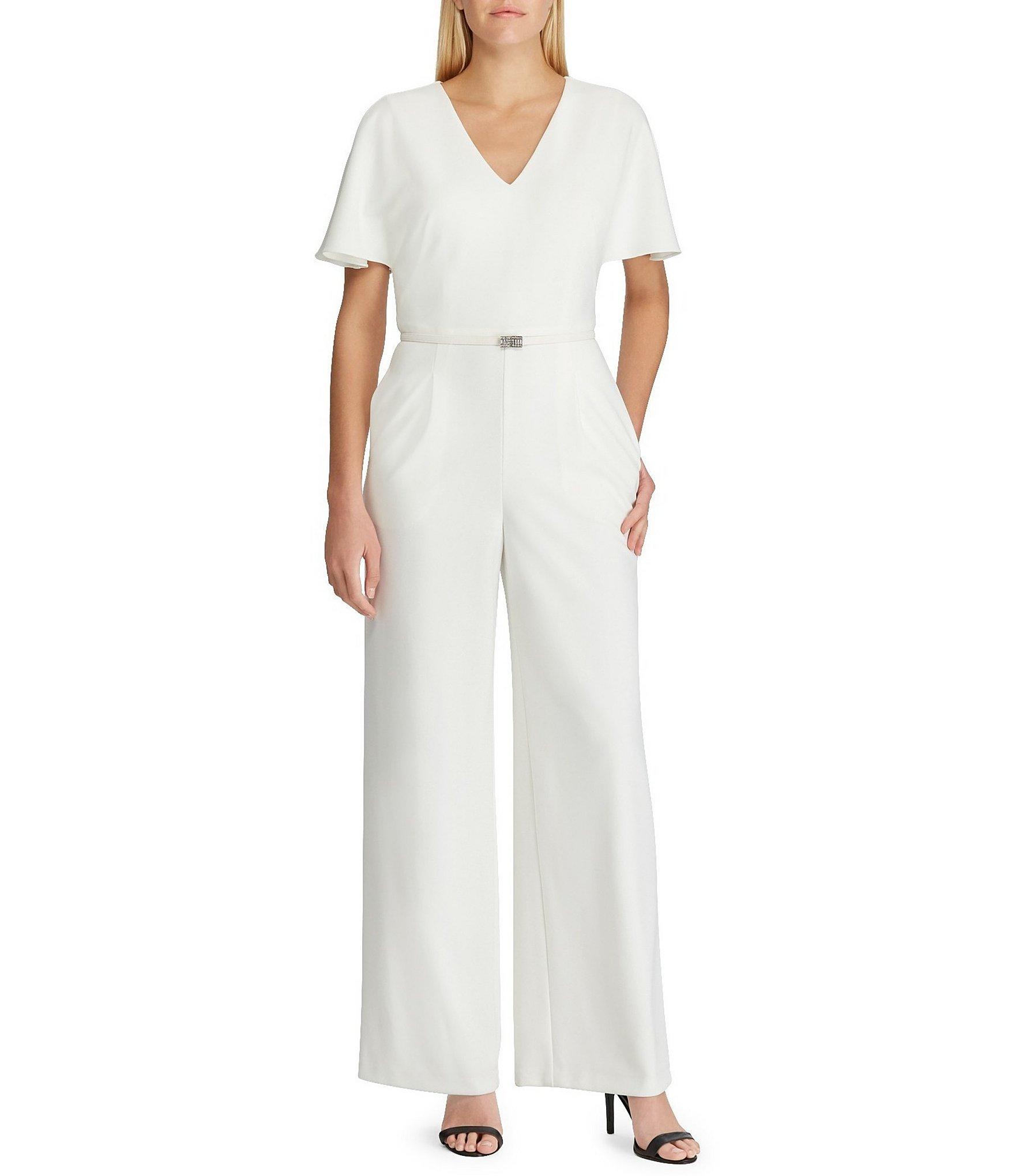 43cf71008a0 Lyst - Lauren by Ralph Lauren Crepe Wide Leg Belted Jumpsuit in White