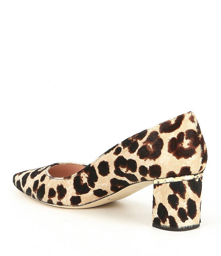 03716325132b Lyst - Kate Spade Milan Too Leopard Print Calf Hair Block Heel Pumps ...