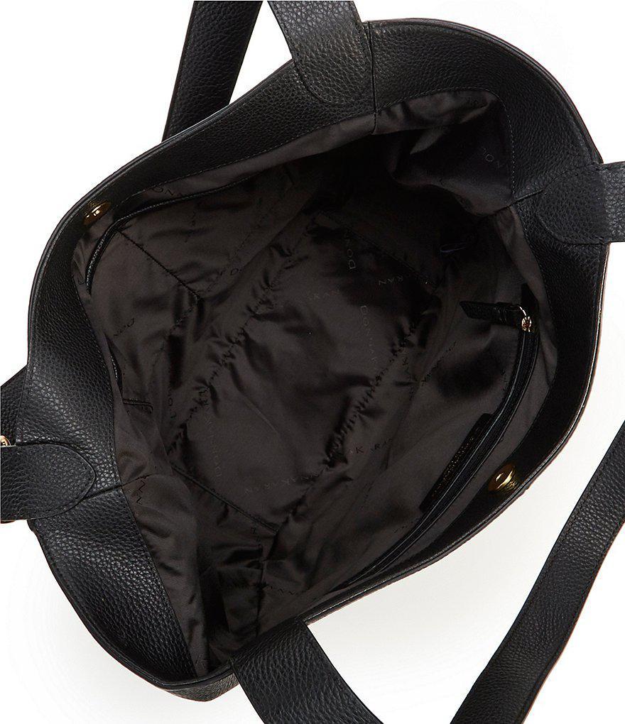 9aab4139fedc Donna Karan Pebble Buckle Hobo Bag in Black - Lyst