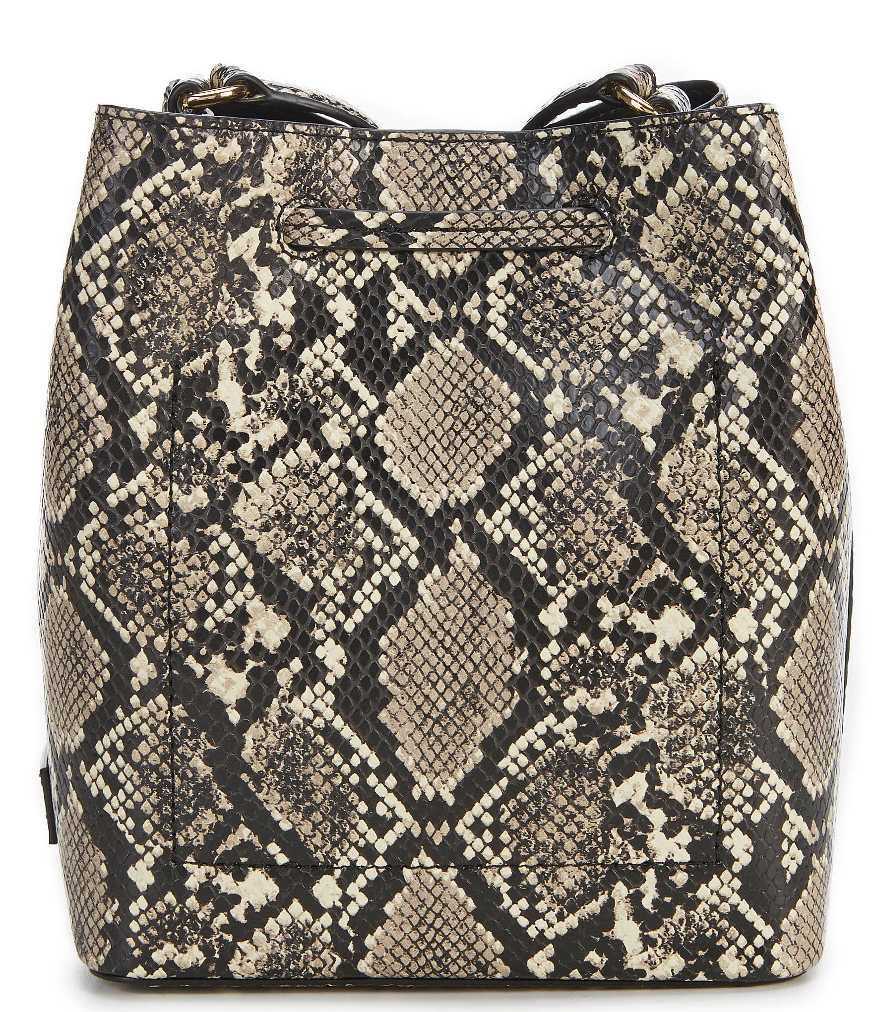 2292830a6d1c Lauren by Ralph Lauren - Black Mini Debby Snake-embossed Drawstring Bag -  Lyst. View fullscreen