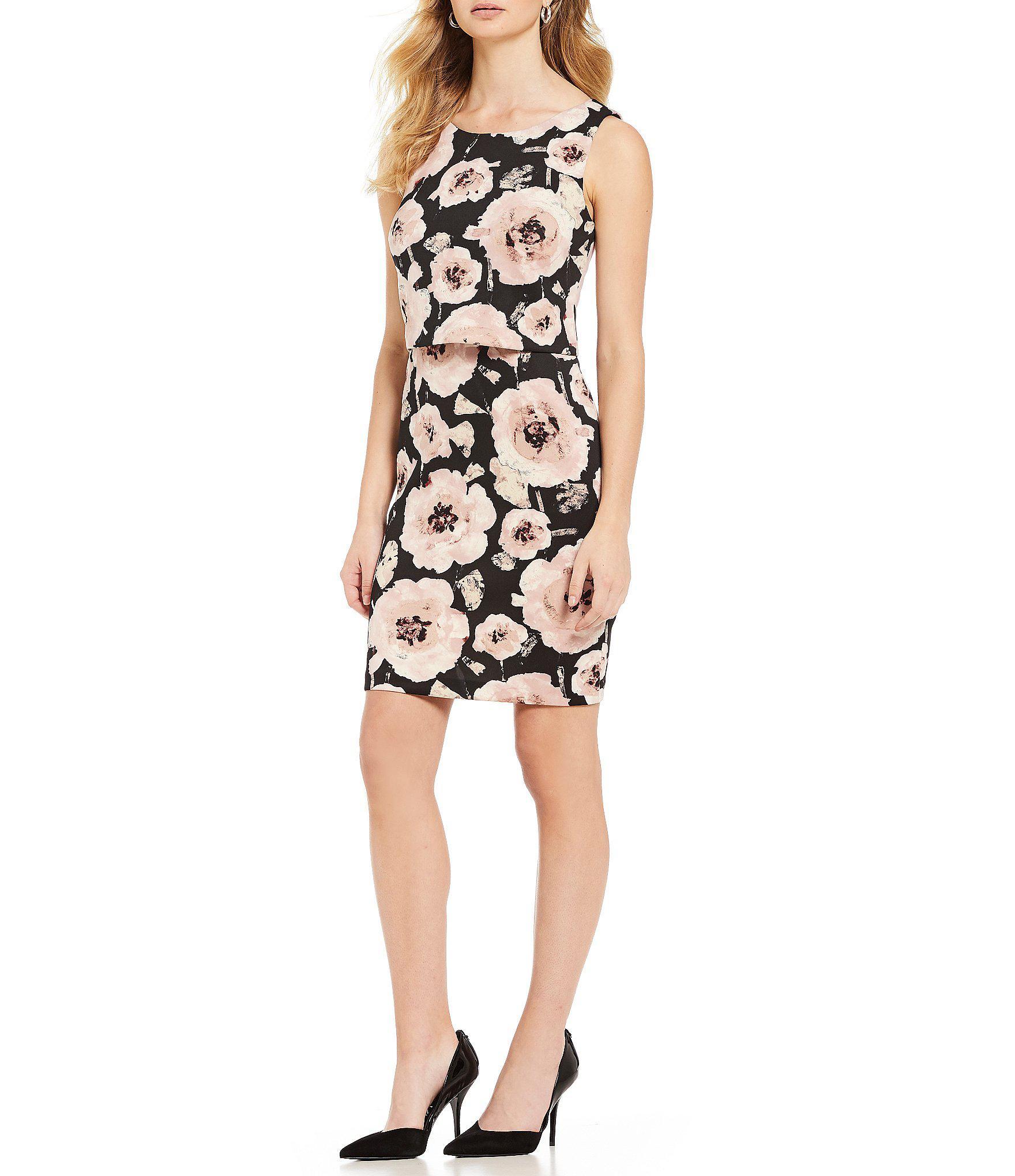 4e5e341acf Ivanka Trump Floral Print Scuba Crepe Popover Sheath Dress in Black ...