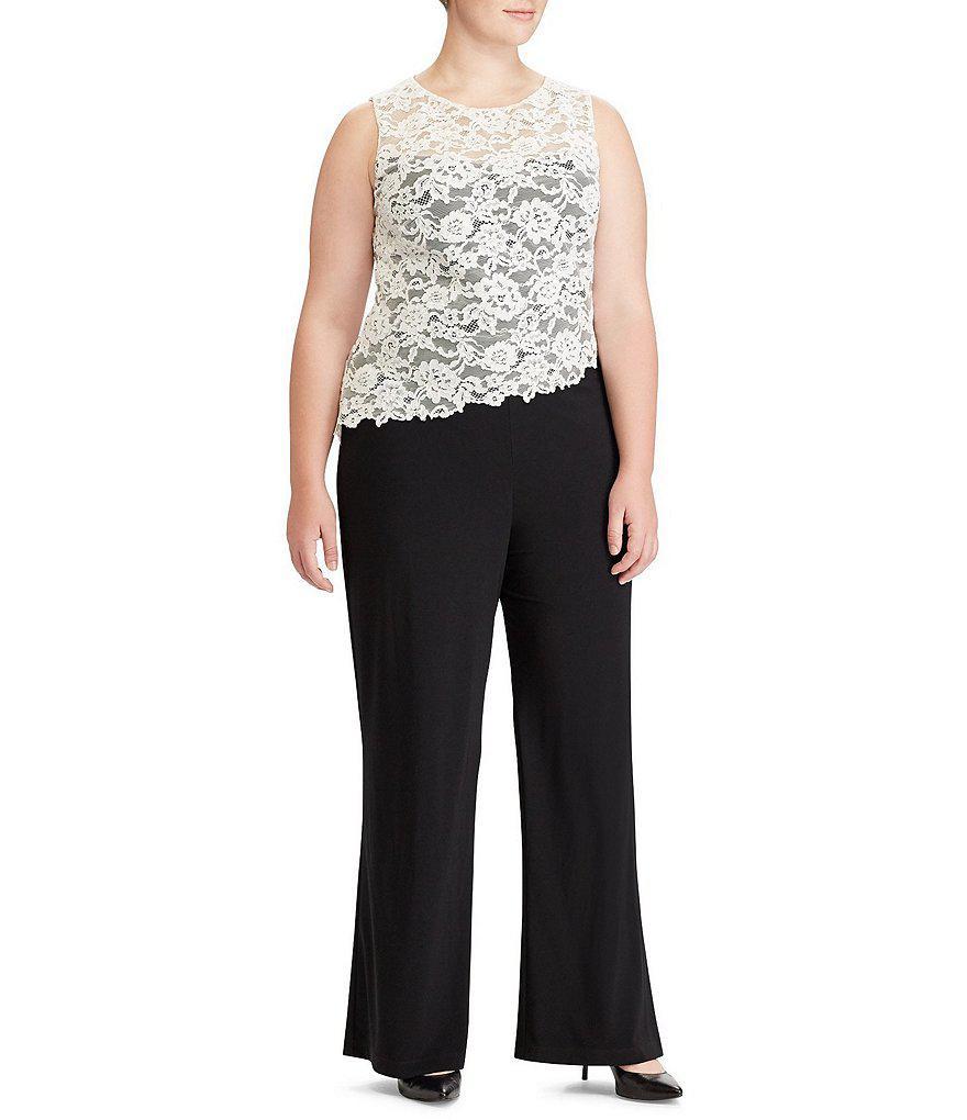 36af0166e1e Lyst - Lauren by Ralph Lauren Plus Lace-trim Wide-leg Jumpsuit in Black