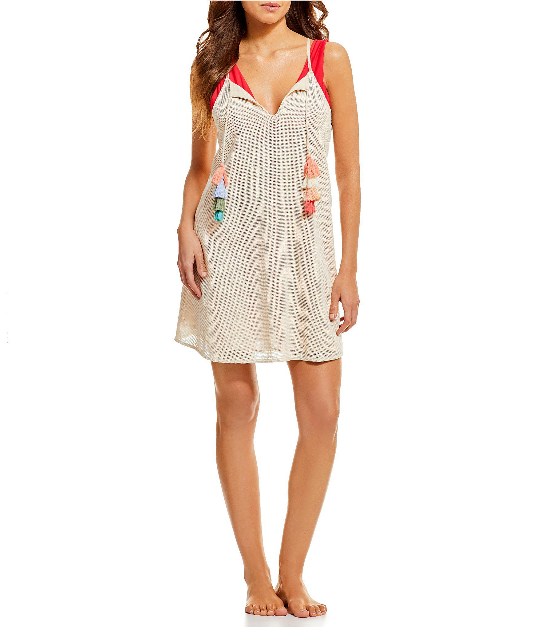 2983ea8246 Gianni Bini Mesh Swing Dress Swimsuit Cover-up in Natural - Lyst