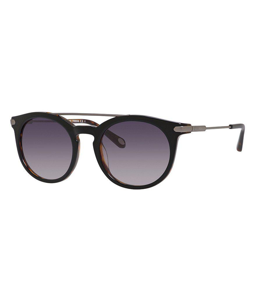 0b96bc19b59 Lyst - Fossil Round Double Bridge Sunglasses in Black